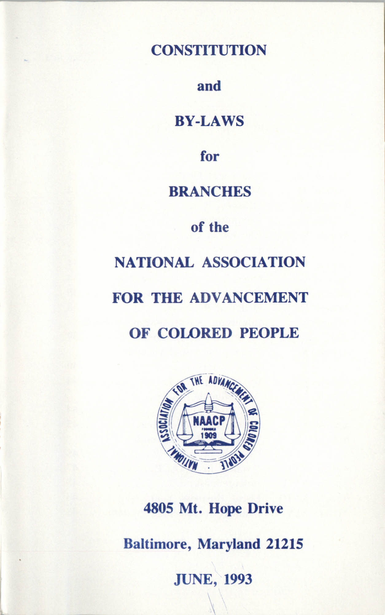 Constitution and By-Laws for Branches of the NAACP, June 1993, Cover