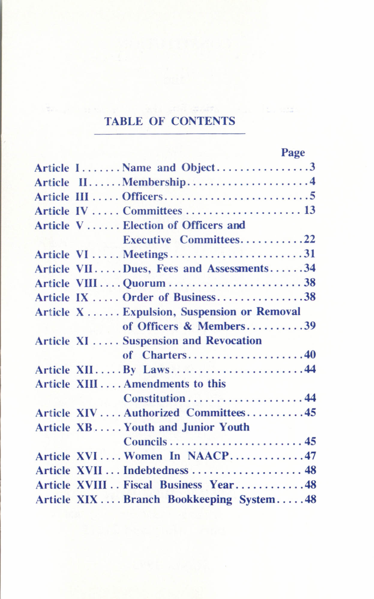 Constitution and By-Laws for Branches of the NAACP, June 1993, Table of Contents