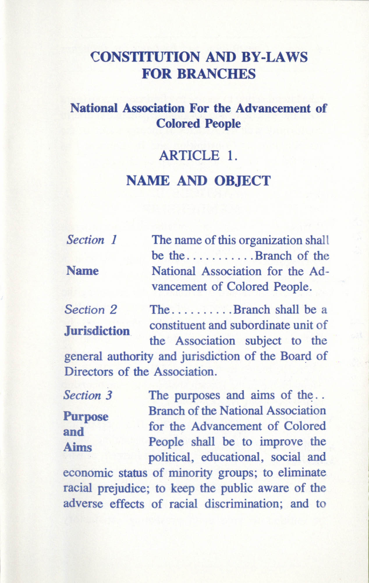 Constitution and By-Laws for Branches of the NAACP, June 1993, Page 3