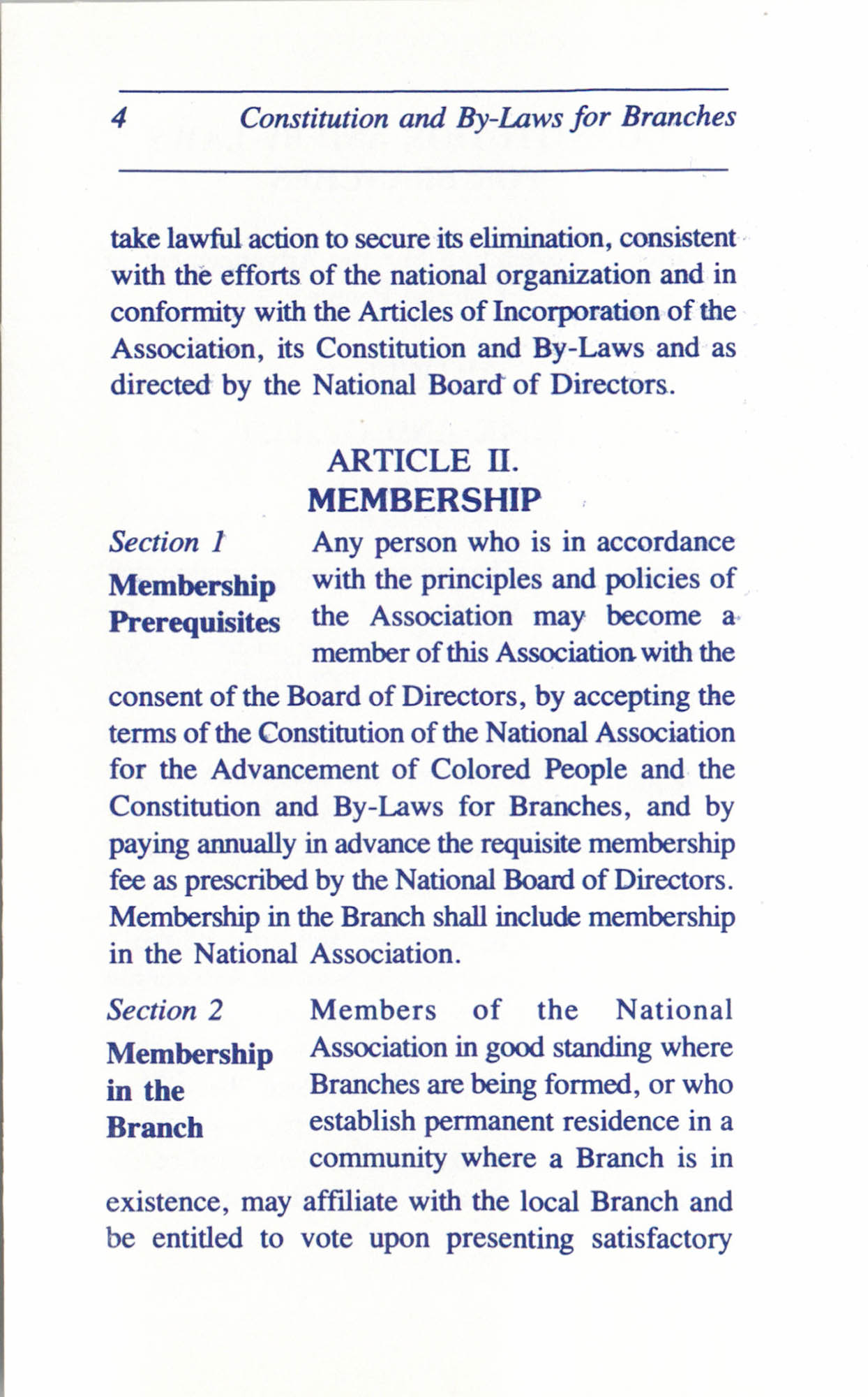 Constitution and By-Laws for Branches of the NAACP, June 1993, Page 4