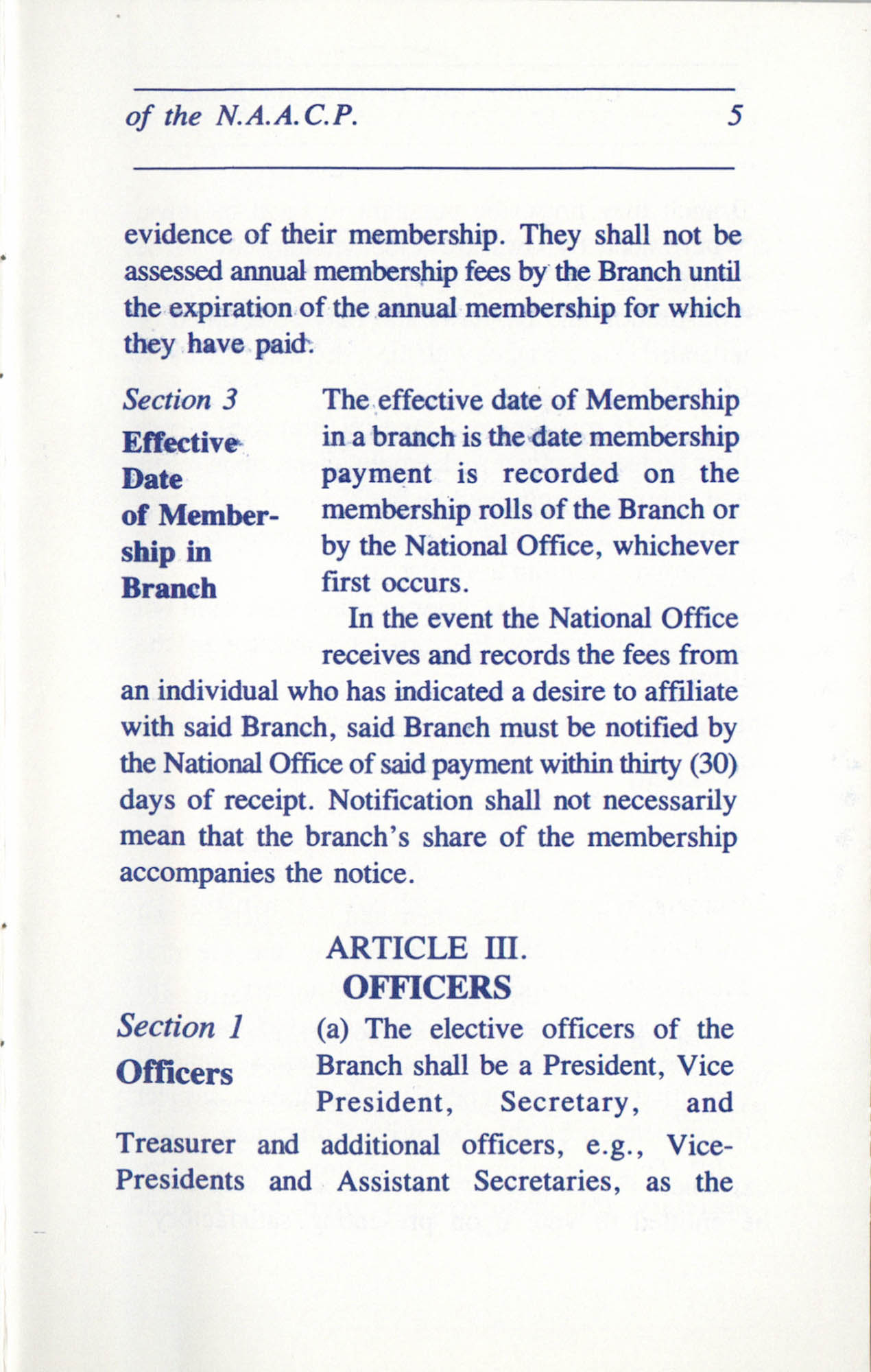 Constitution and By-Laws for Branches of the NAACP, June 1993, Page 5