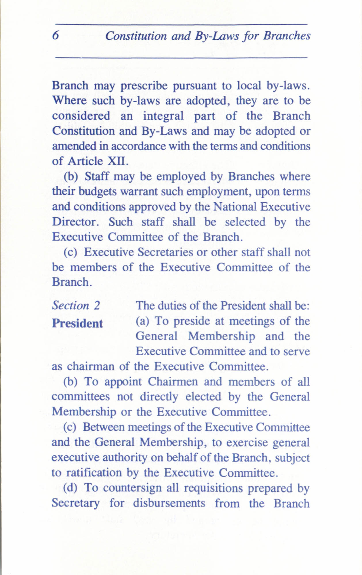 Constitution and By-Laws for Branches of the NAACP, June 1993, Page 6