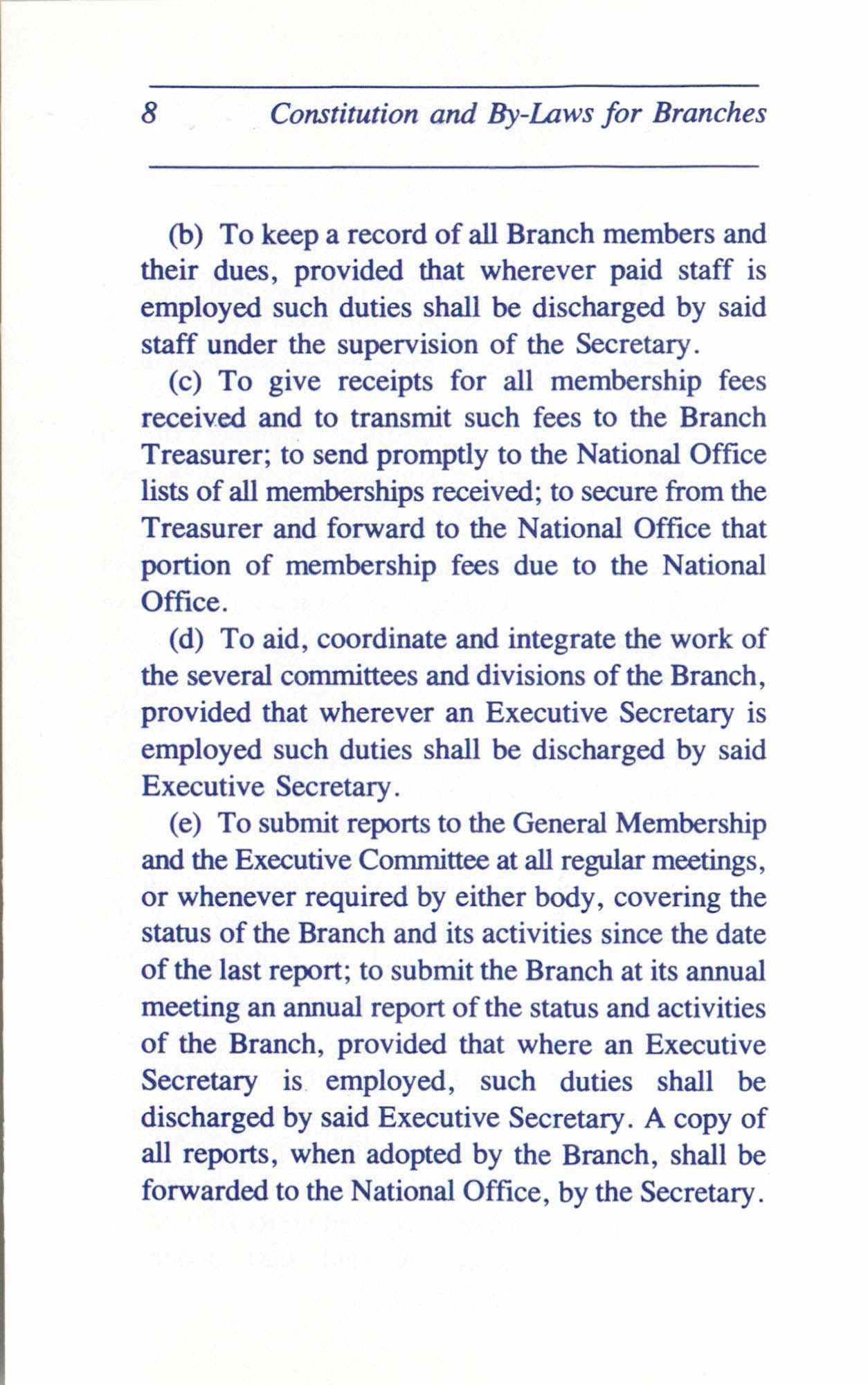 Constitution and By-Laws for Branches of the NAACP, June 1993, Page 8