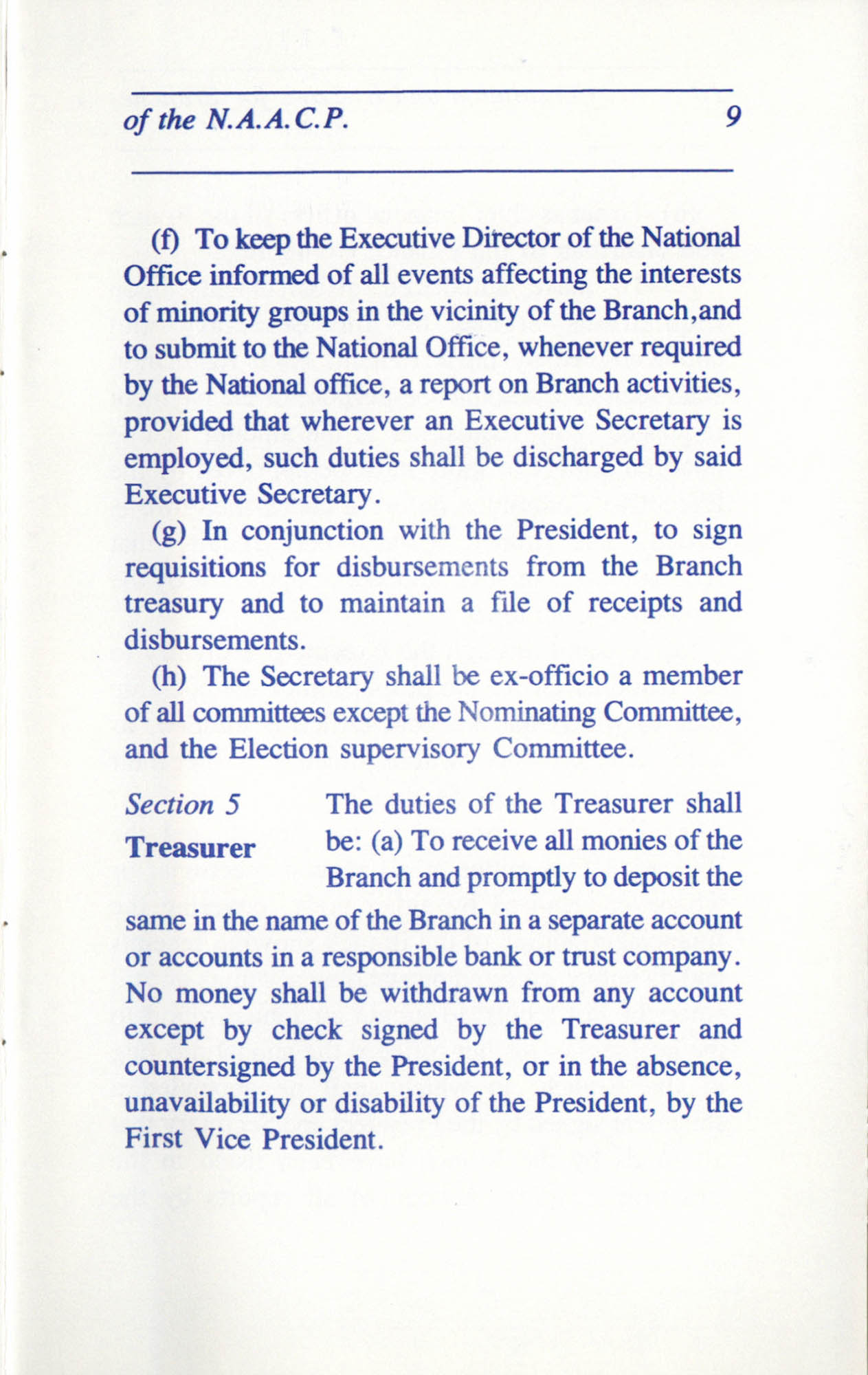 Constitution and By-Laws for Branches of the NAACP, June 1993, Page 9