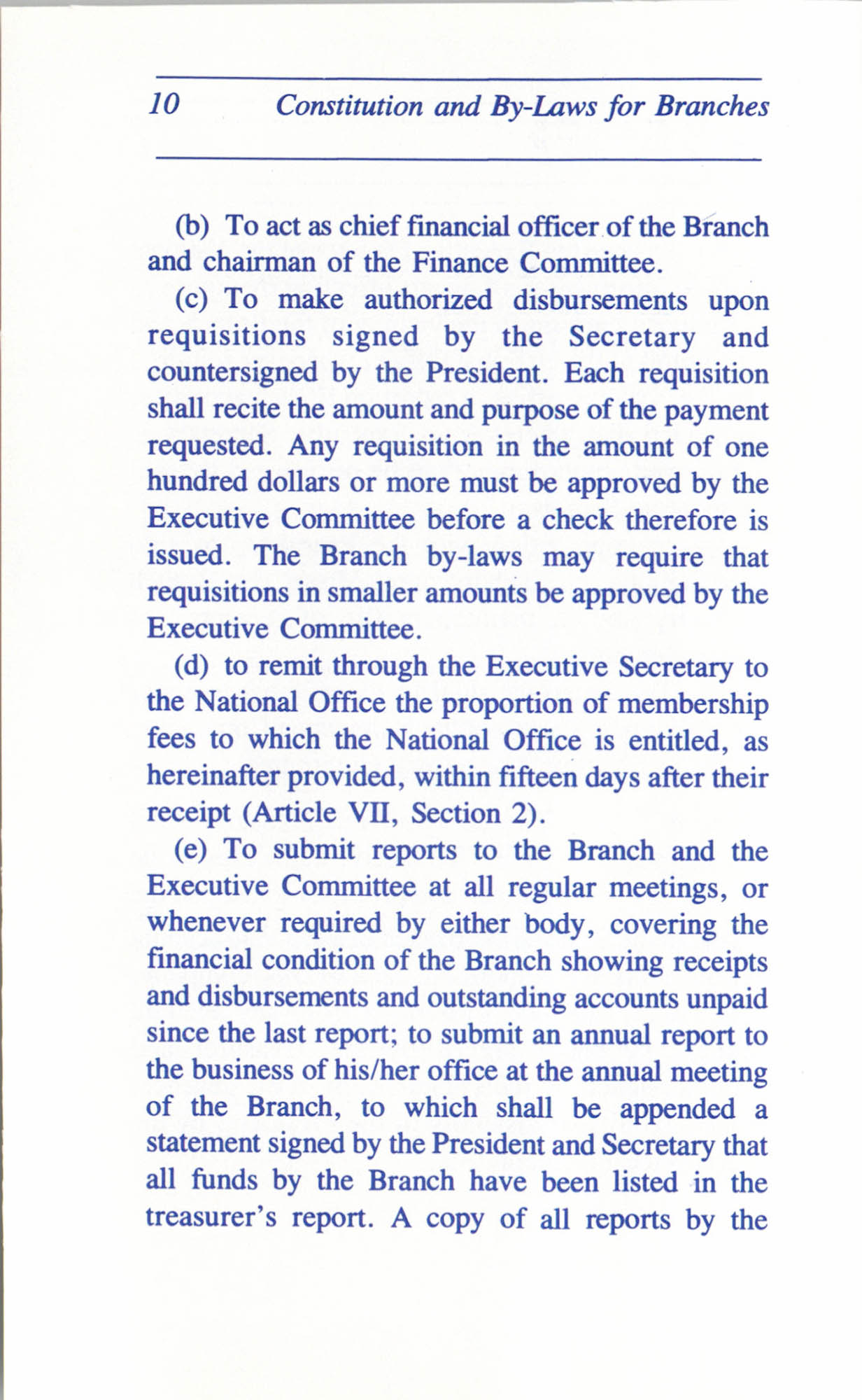 Constitution and By-Laws for Branches of the NAACP, June 1993, Page 10
