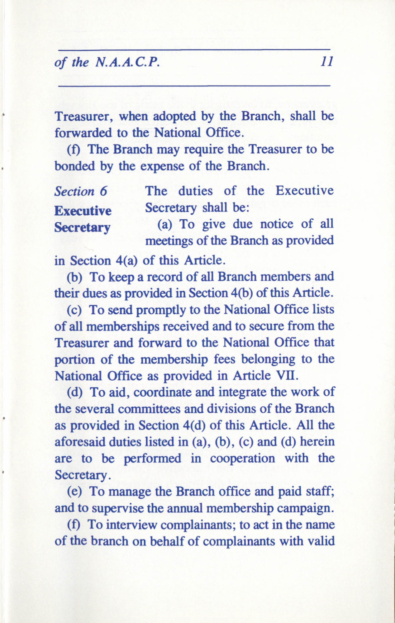 Constitution and By-Laws for Branches of the NAACP, June 1993, Page 11