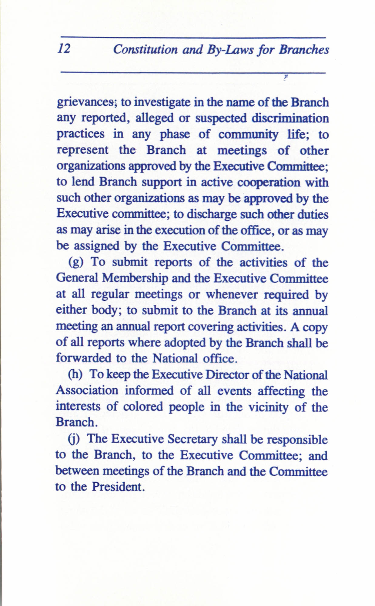 Constitution and By-Laws for Branches of the NAACP, June 1993, Page 12