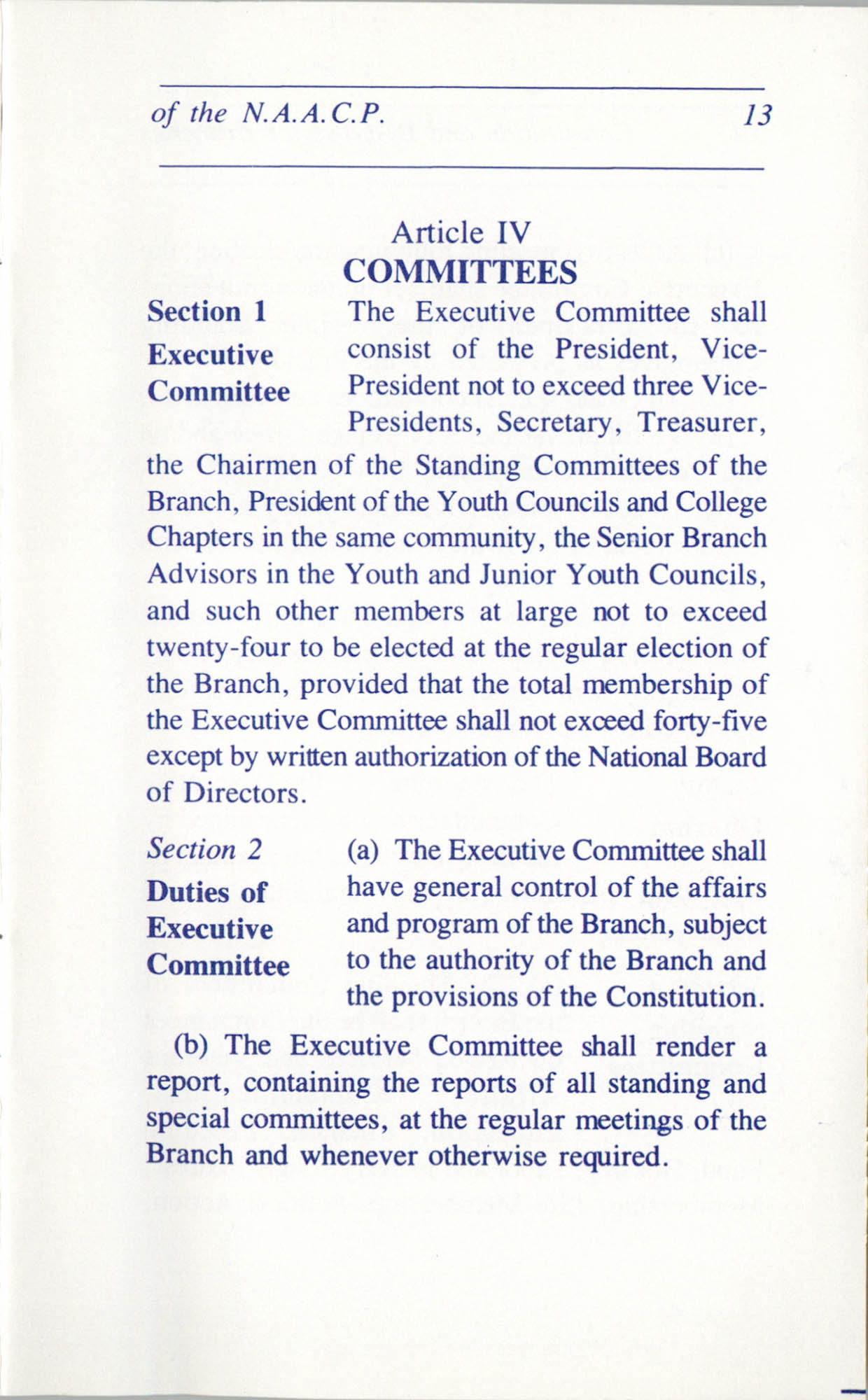 Constitution and By-Laws for Branches of the NAACP, June 1993, Page 13