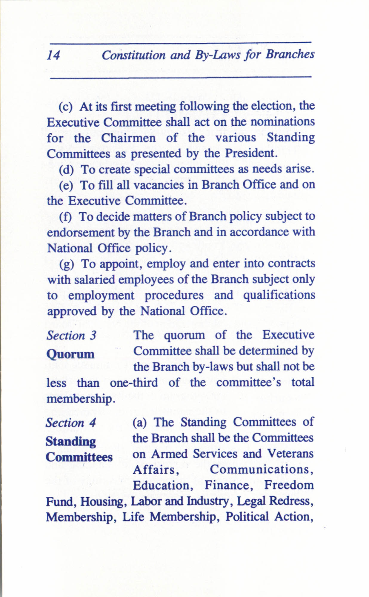 Constitution and By-Laws for Branches of the NAACP, June 1993, Page 14