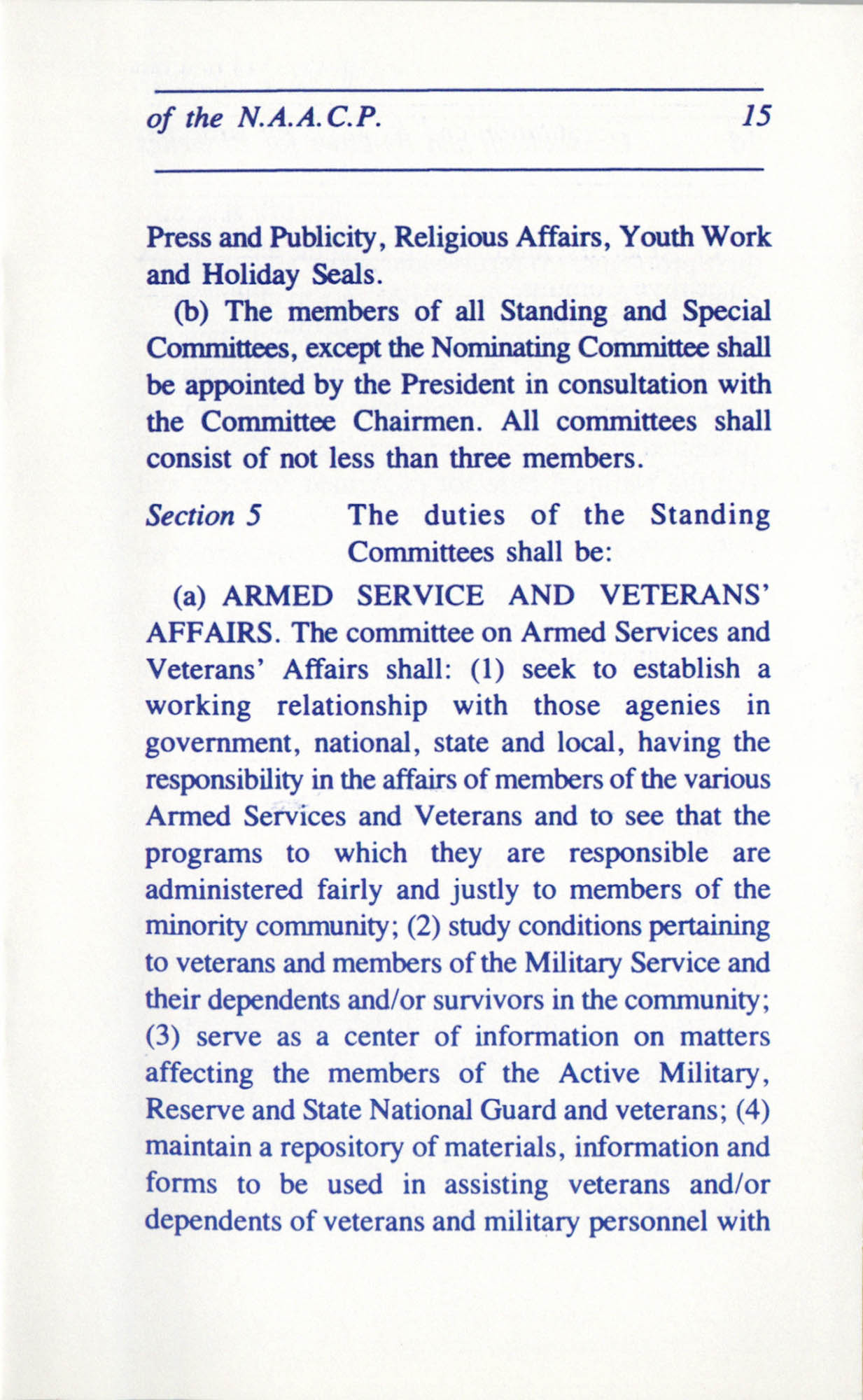 Constitution and By-Laws for Branches of the NAACP, June 1993, Page 15