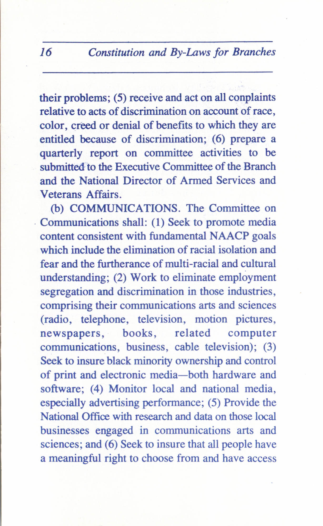 Constitution and By-Laws for Branches of the NAACP, June 1993, Page 16