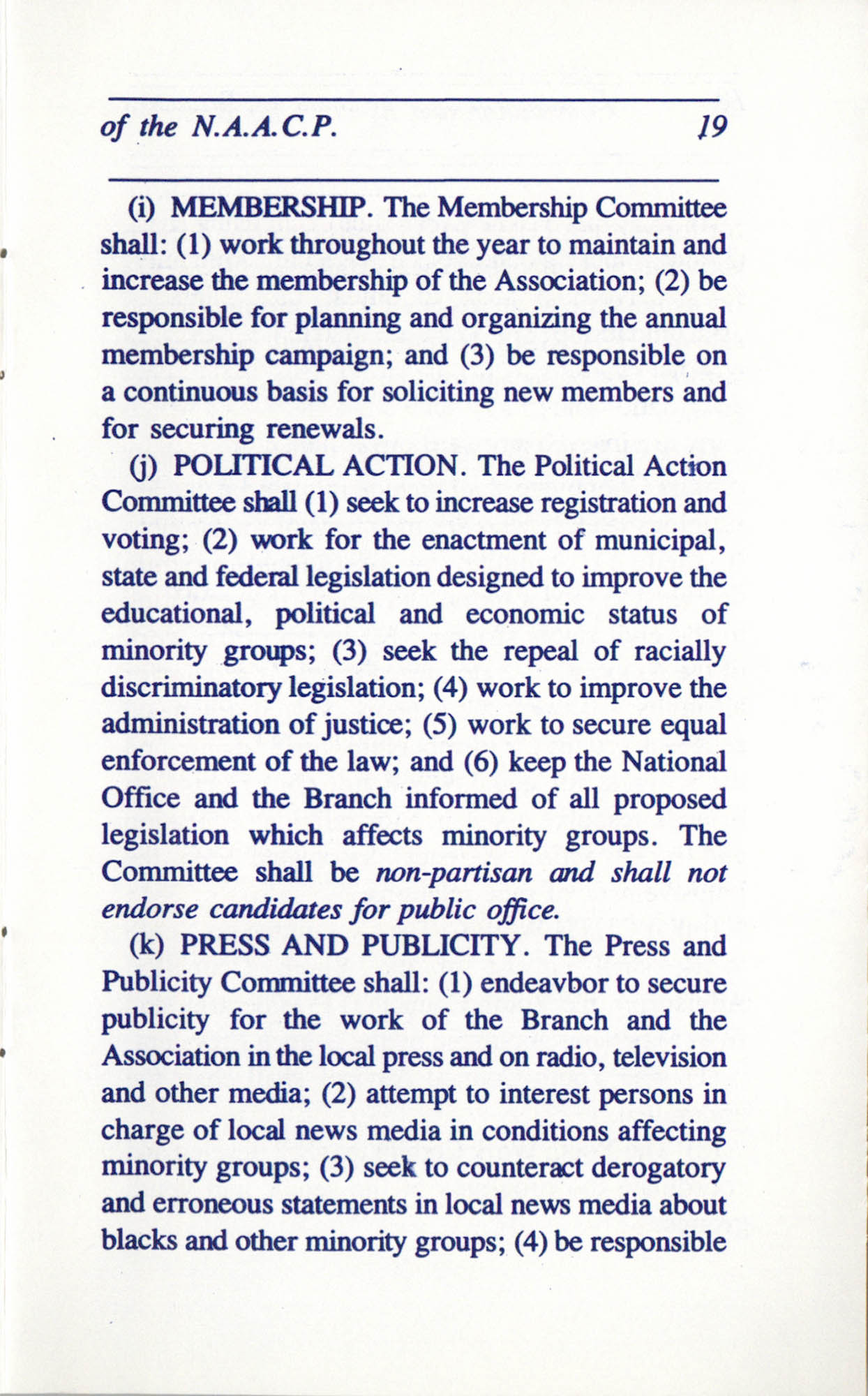 Constitution and By-Laws for Branches of the NAACP, June 1993, Page 19