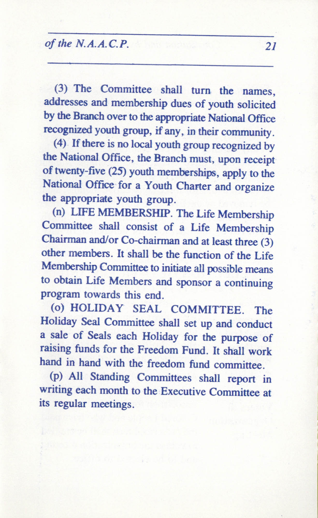 Constitution and By-Laws for Branches of the NAACP, June 1993, Page 21