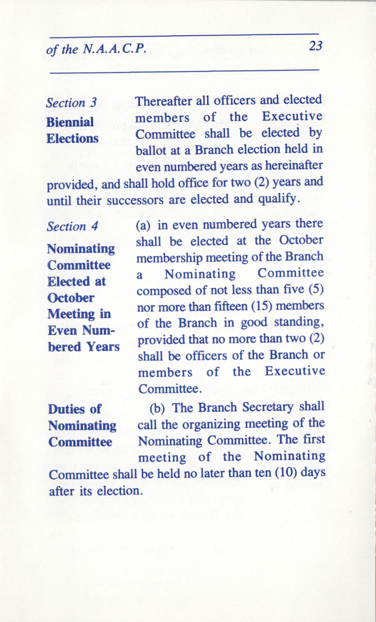 Constitution and By-Laws for Branches of the NAACP, June 1993, Page 23