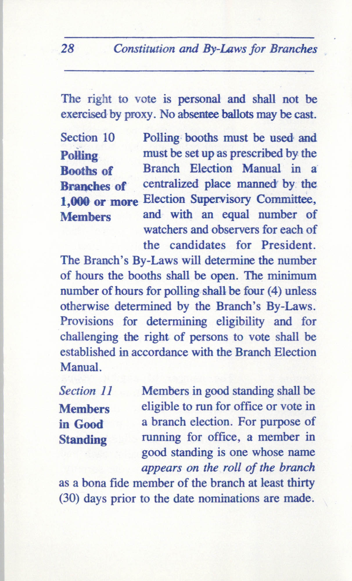 Constitution and By-Laws for Branches of the NAACP, June 1993, Page 28