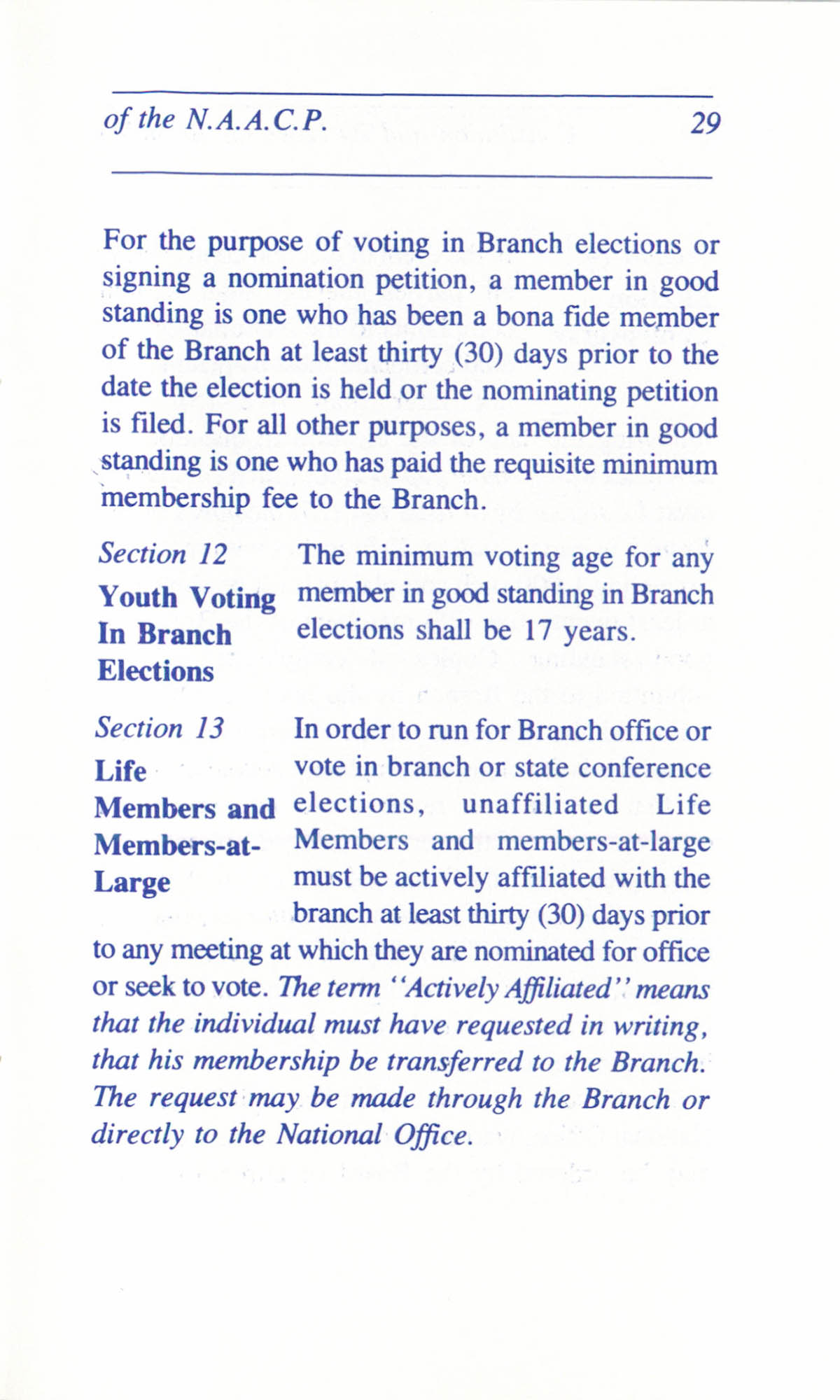 Constitution and By-Laws for Branches of the NAACP, June 1993, Page 29