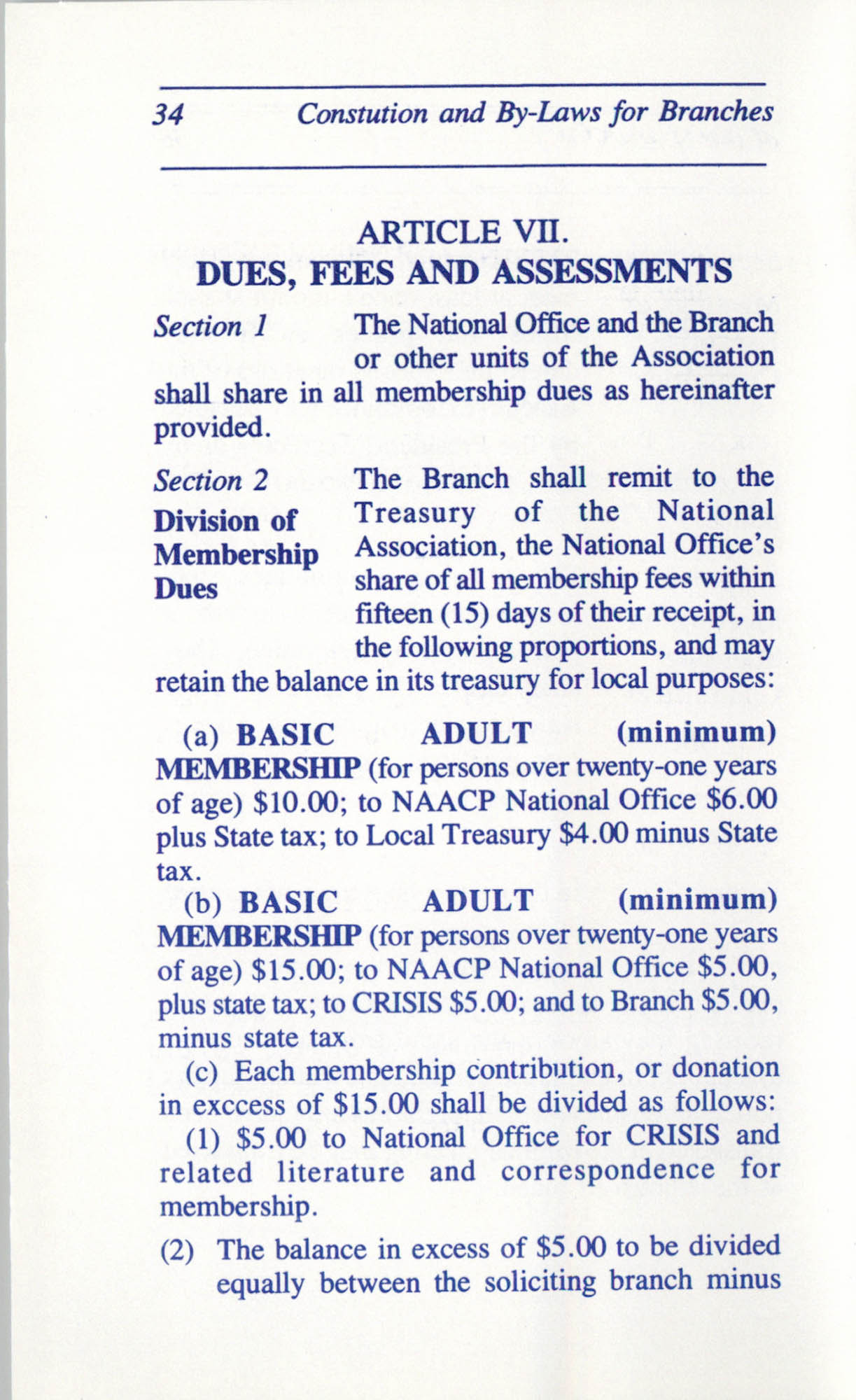 Constitution and By-Laws for Branches of the NAACP, June 1993, Page 34