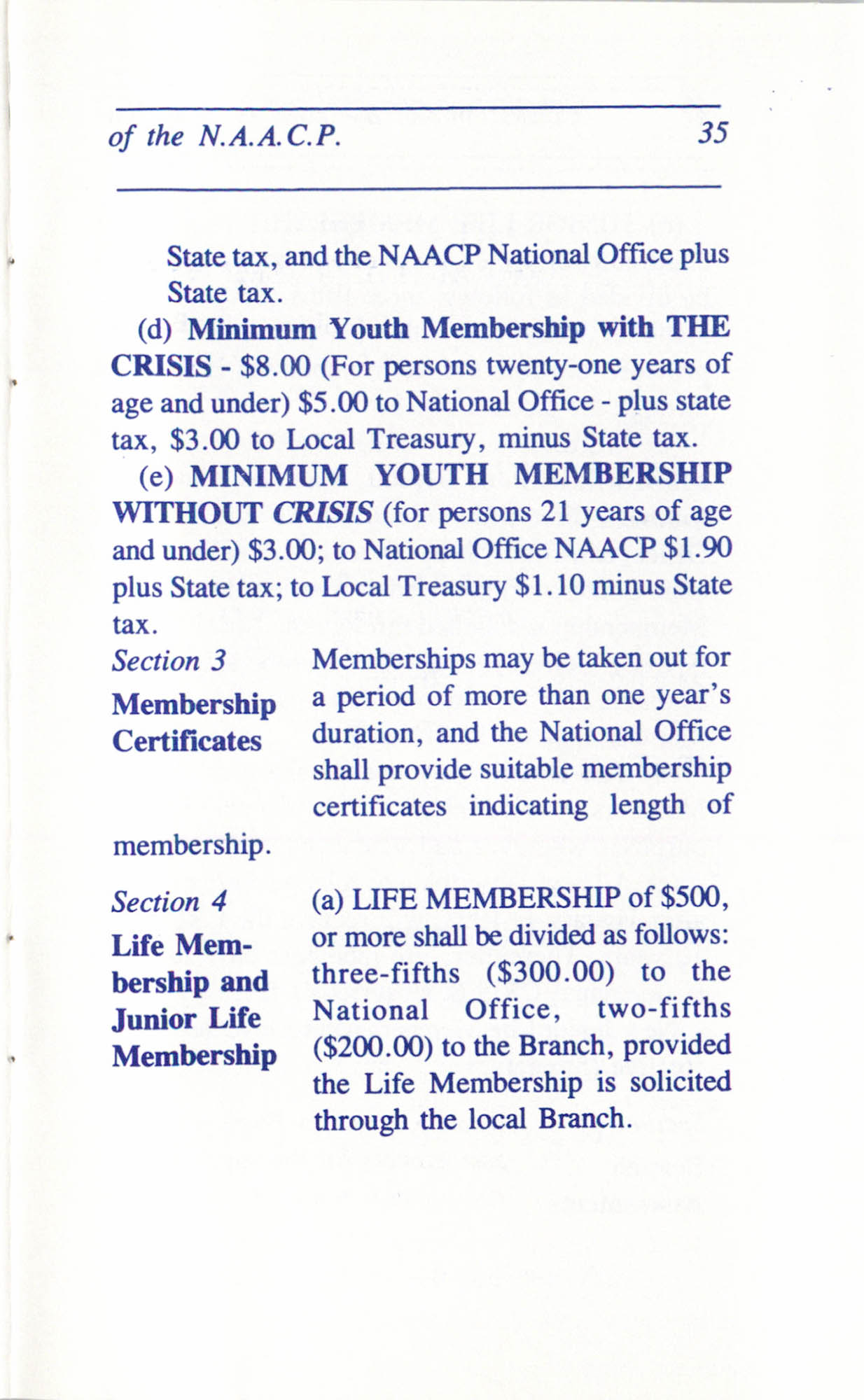 Constitution and By-Laws for Branches of the NAACP, June 1993, Page 35
