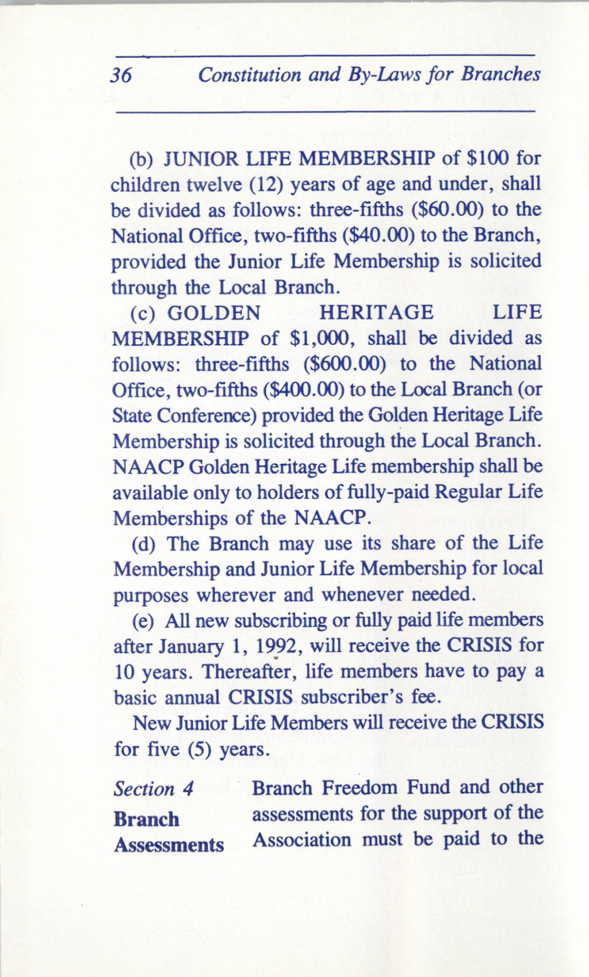 Constitution and By-Laws for Branches of the NAACP, June 1993, Page 36