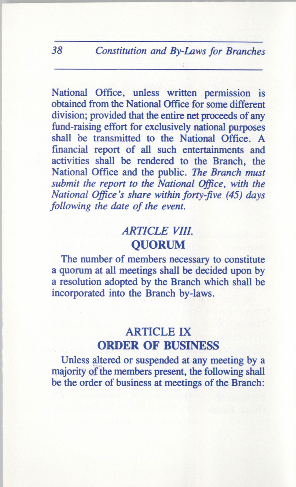 Constitution and By-Laws for Branches of the NAACP, June 1993, Page 38