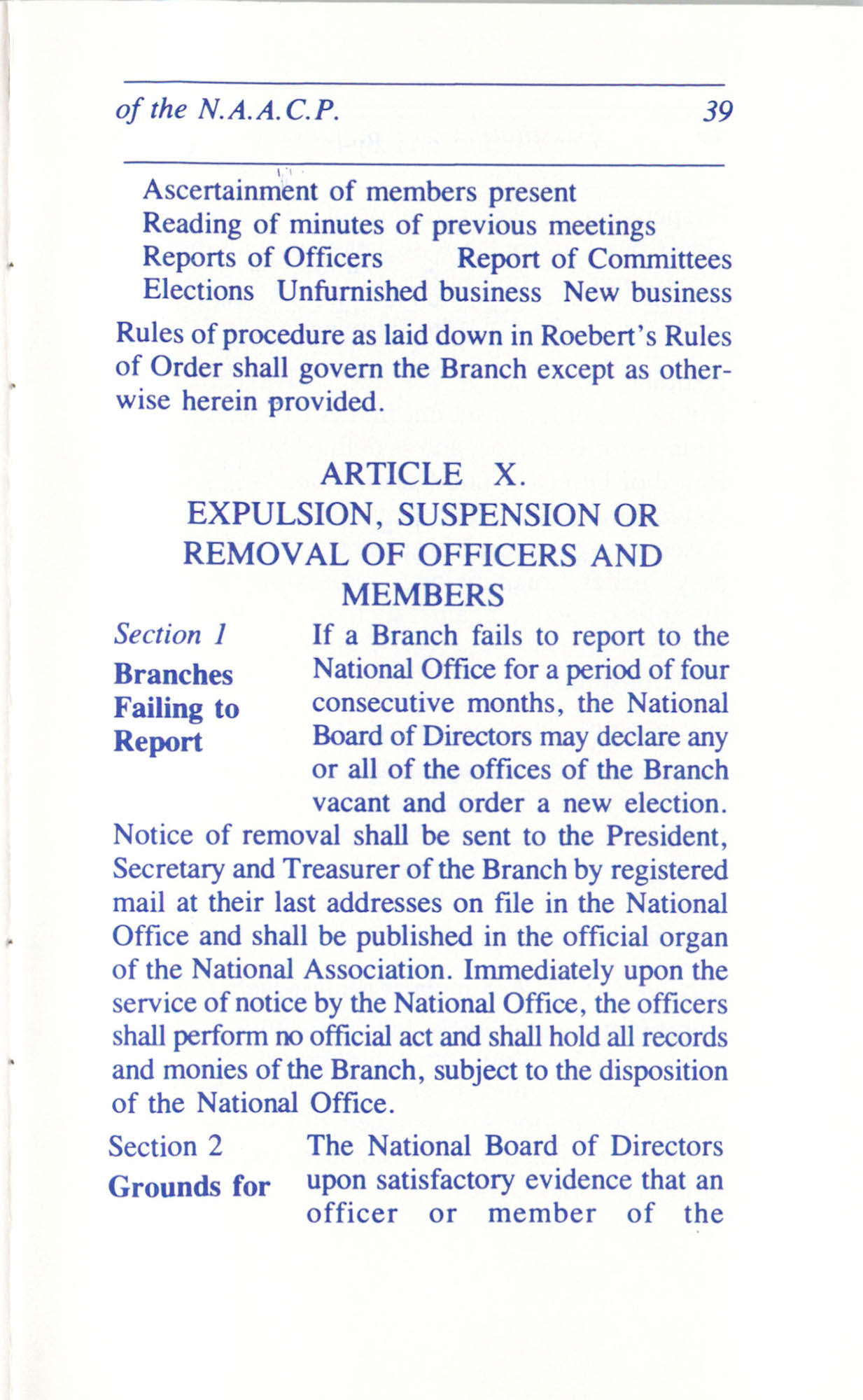 Constitution and By-Laws for Branches of the NAACP, June 1993, Page 39