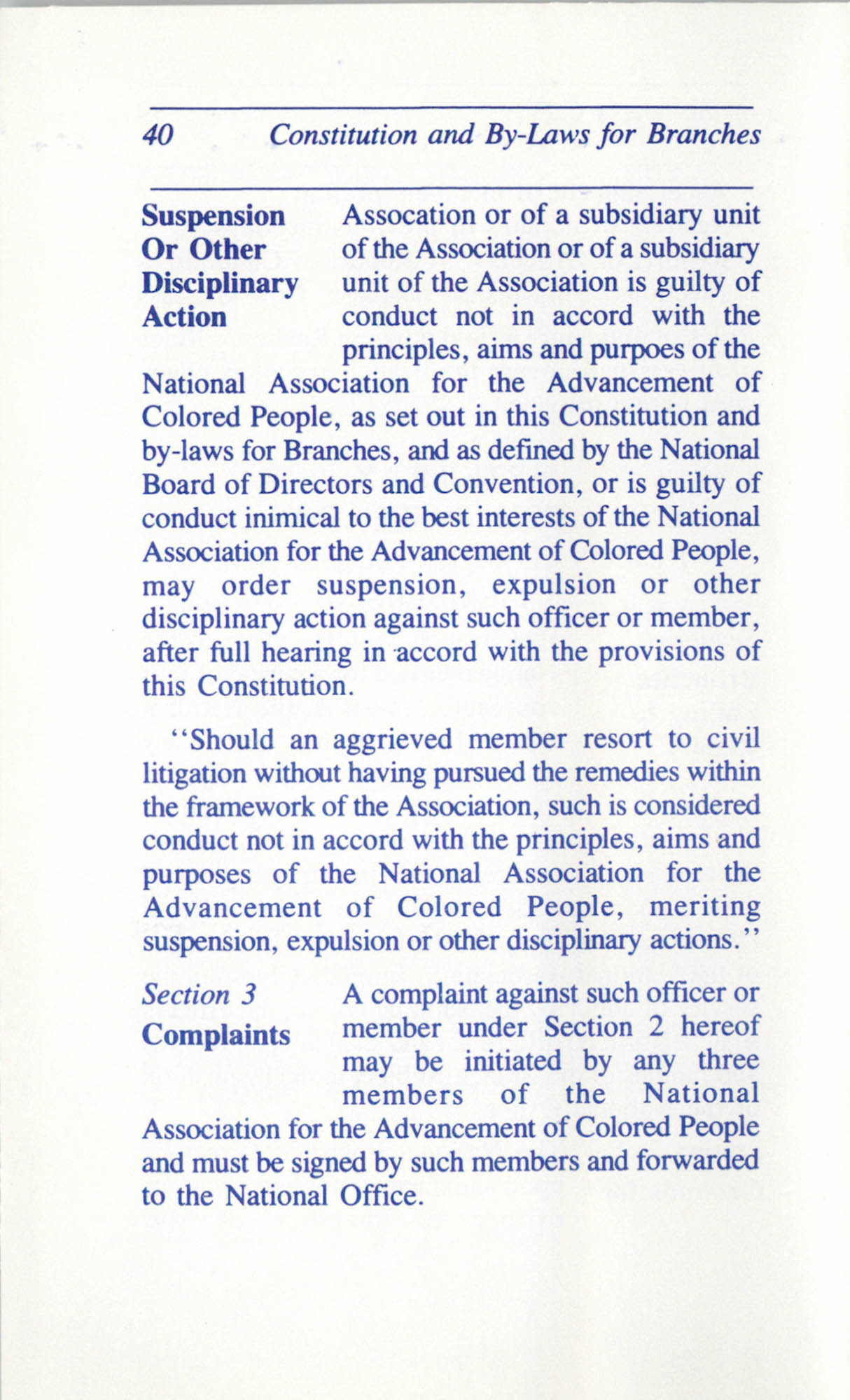Constitution and By-Laws for Branches of the NAACP, June 1993, Page 40