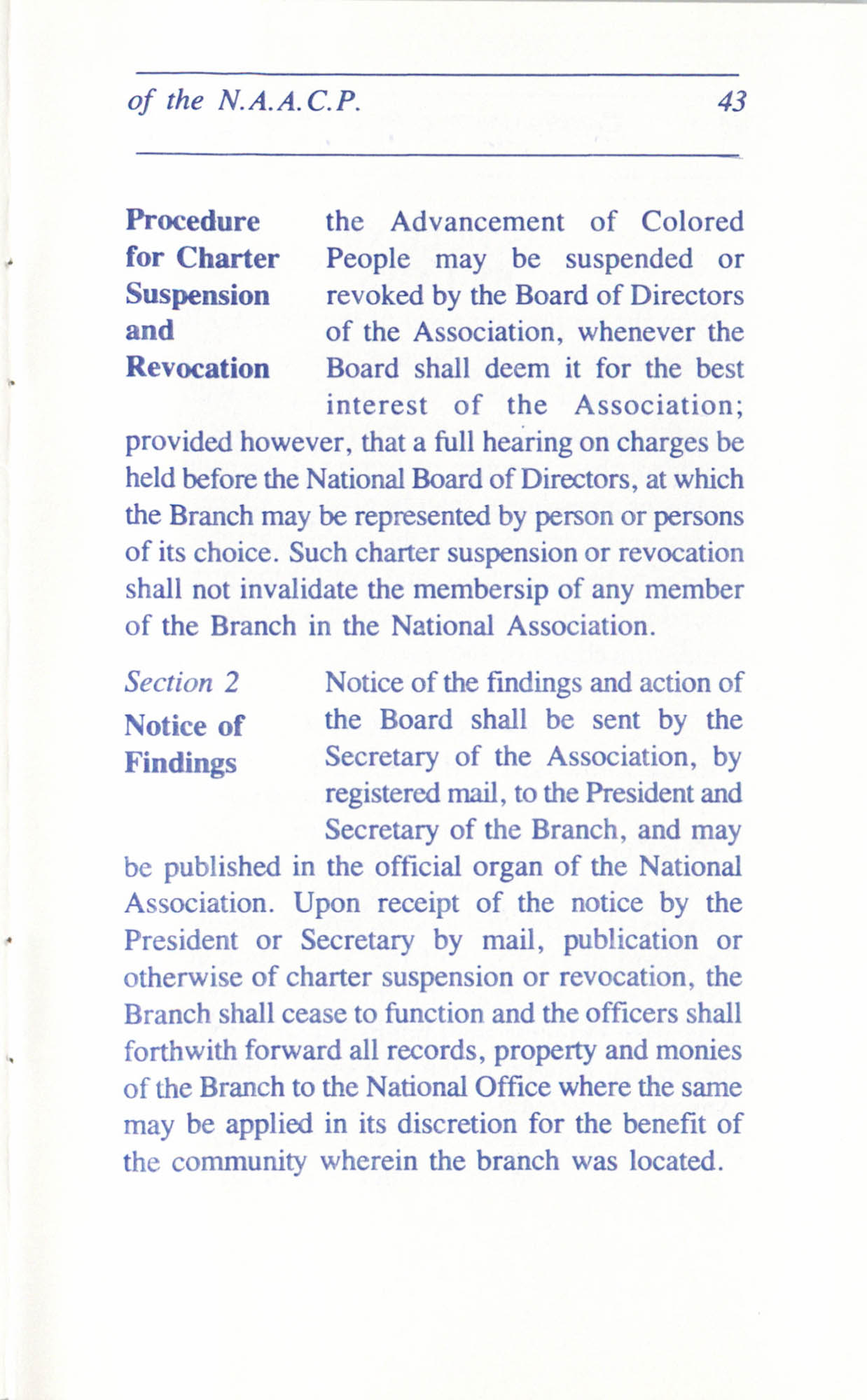 Constitution and By-Laws for Branches of the NAACP, June 1993, Page 43