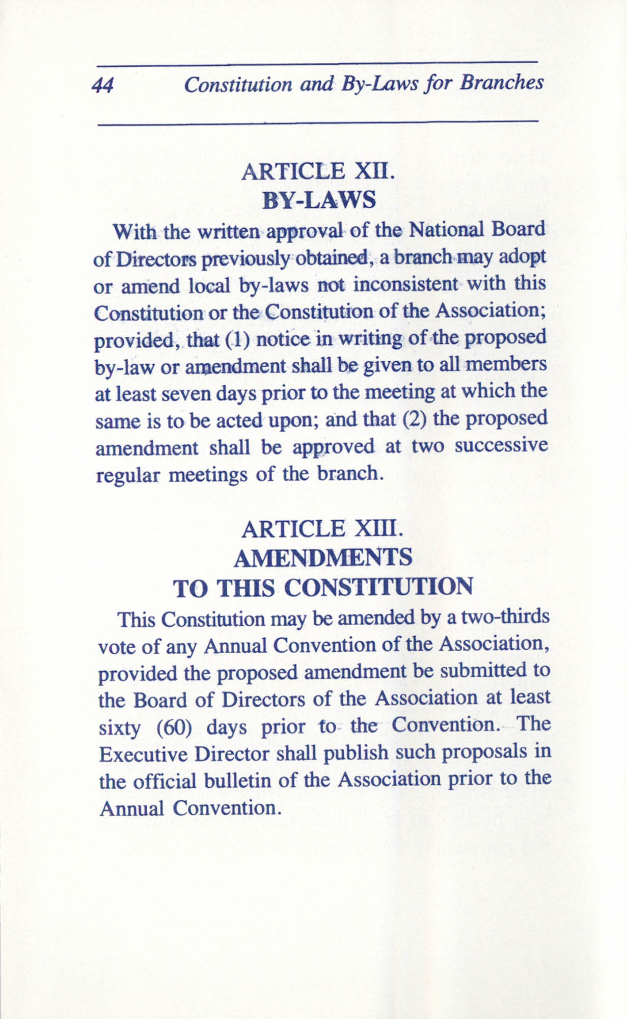 Constitution and By-Laws for Branches of the NAACP, June 1993, Page 44