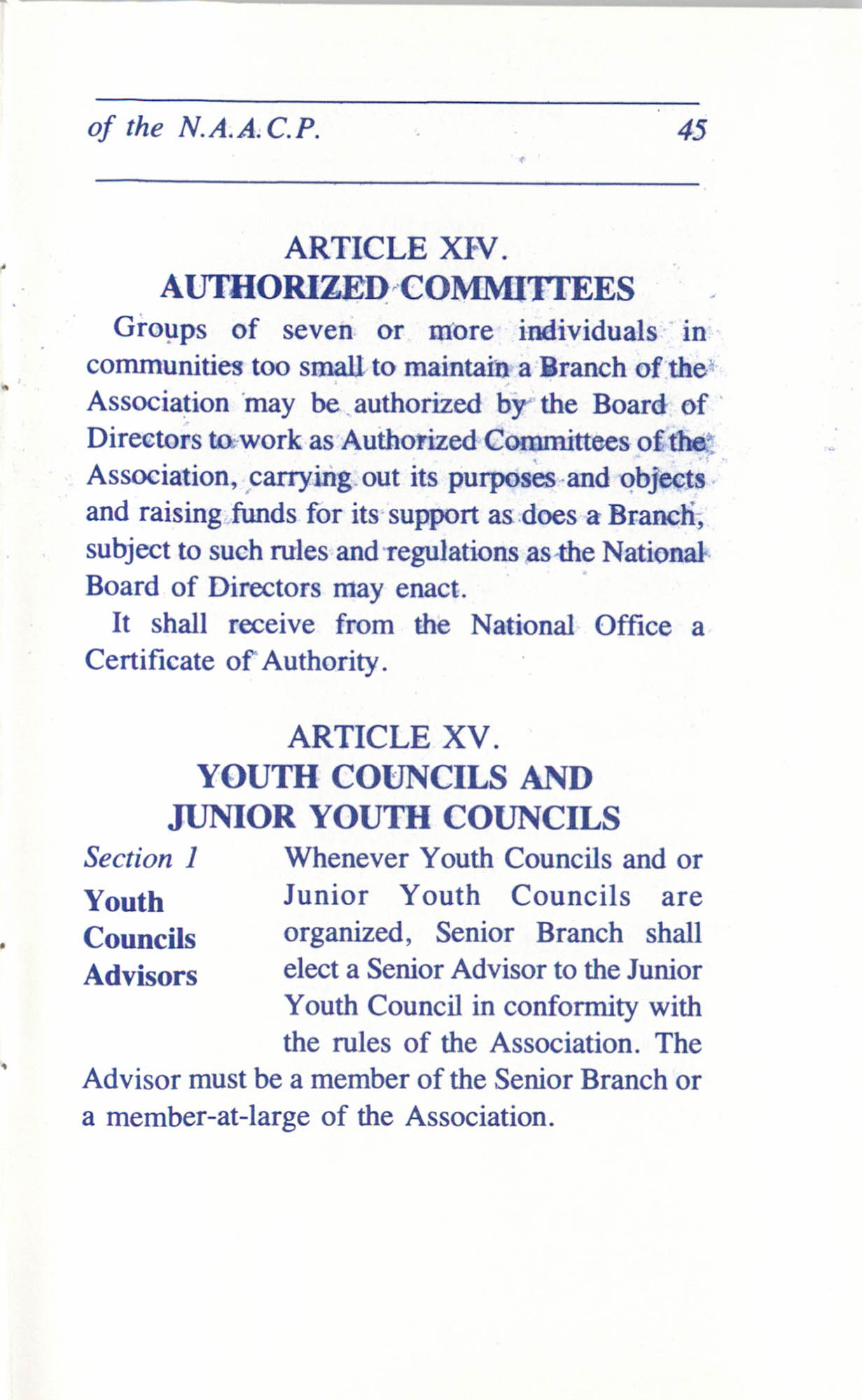 Constitution and By-Laws for Branches of the NAACP, June 1993, Page 45