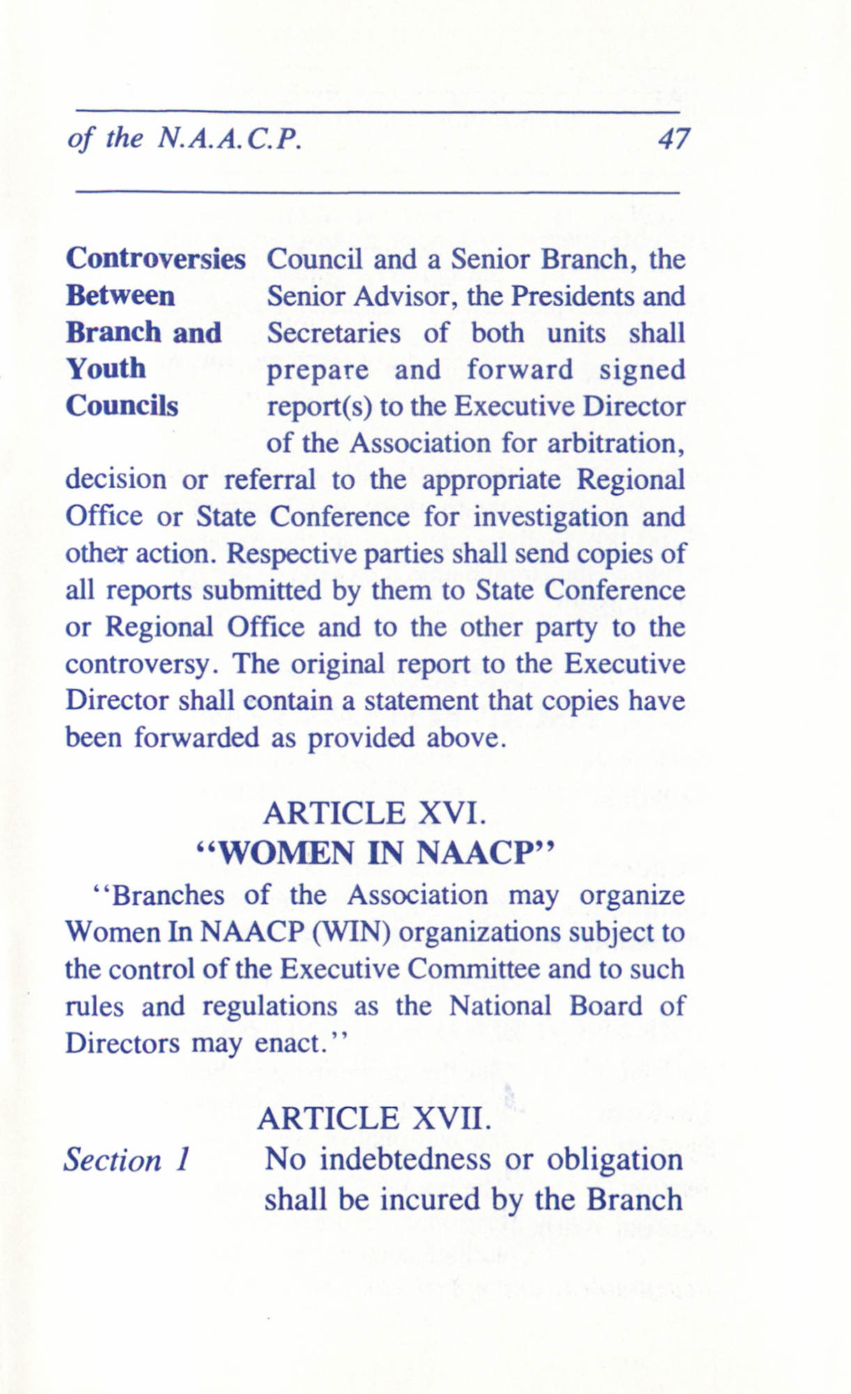 Constitution and By-Laws for Branches of the NAACP, June 1993, Page 47