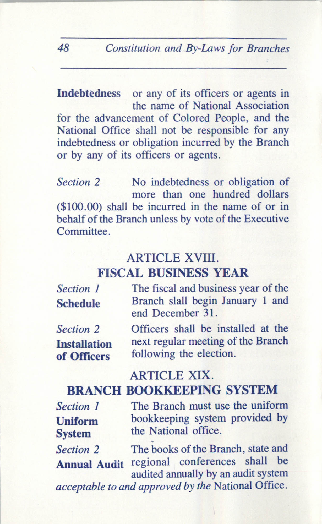 Constitution and By-Laws for Branches of the NAACP, June 1993, Page 48