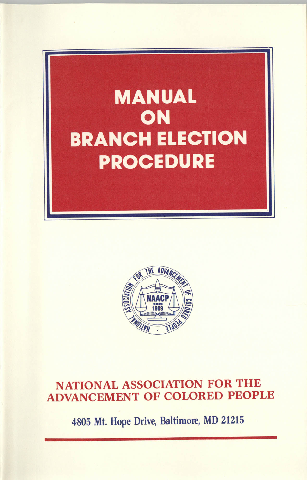 Manual on Branch Election Procedure, Front Cover