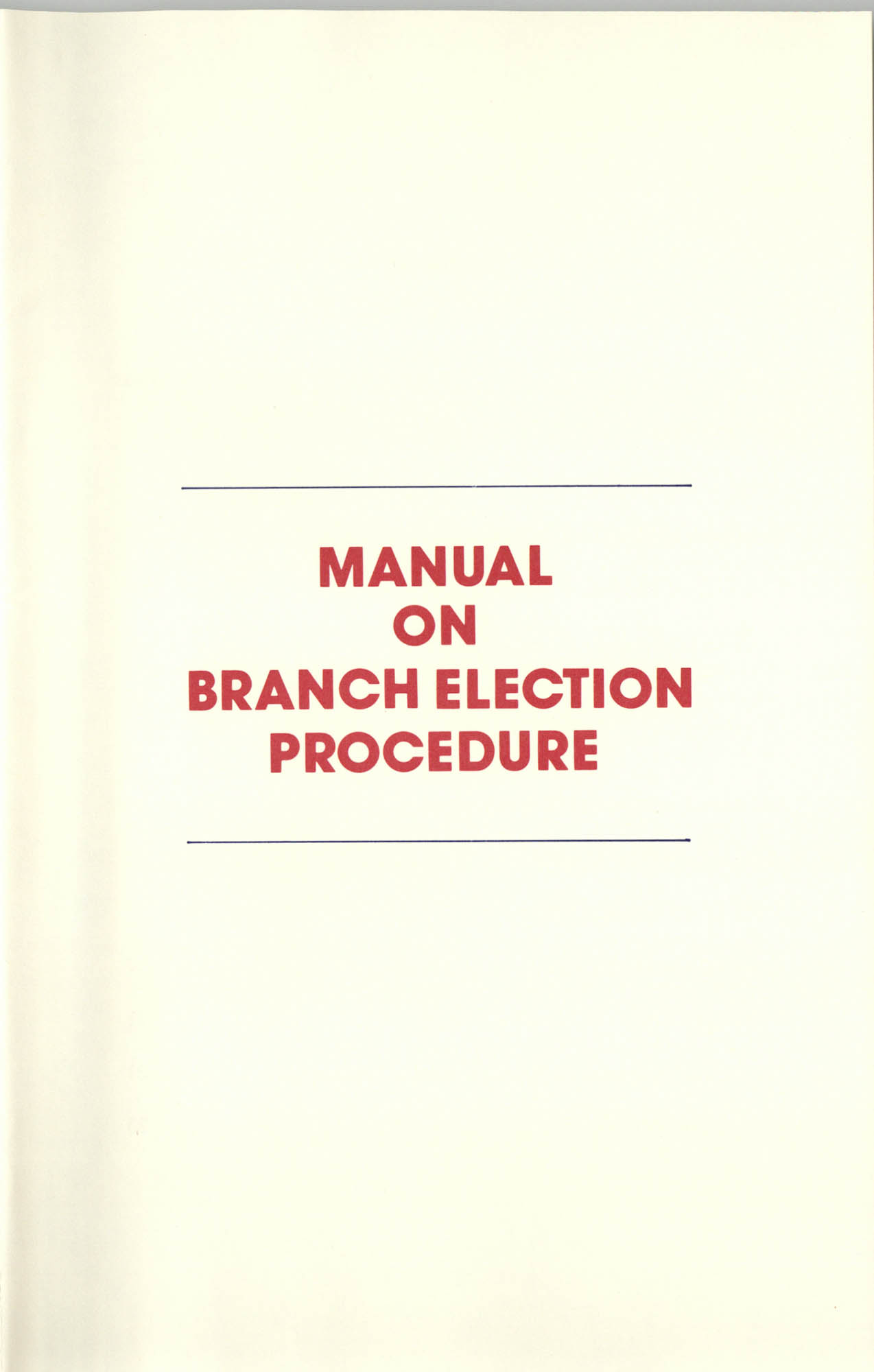 Manual on Branch Election Procedure, Title Page