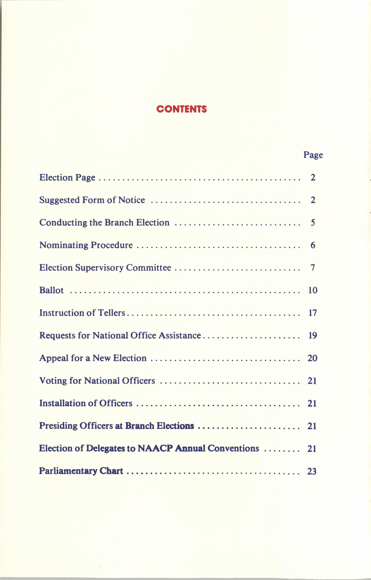 Manual on Branch Election Procedure, Contents