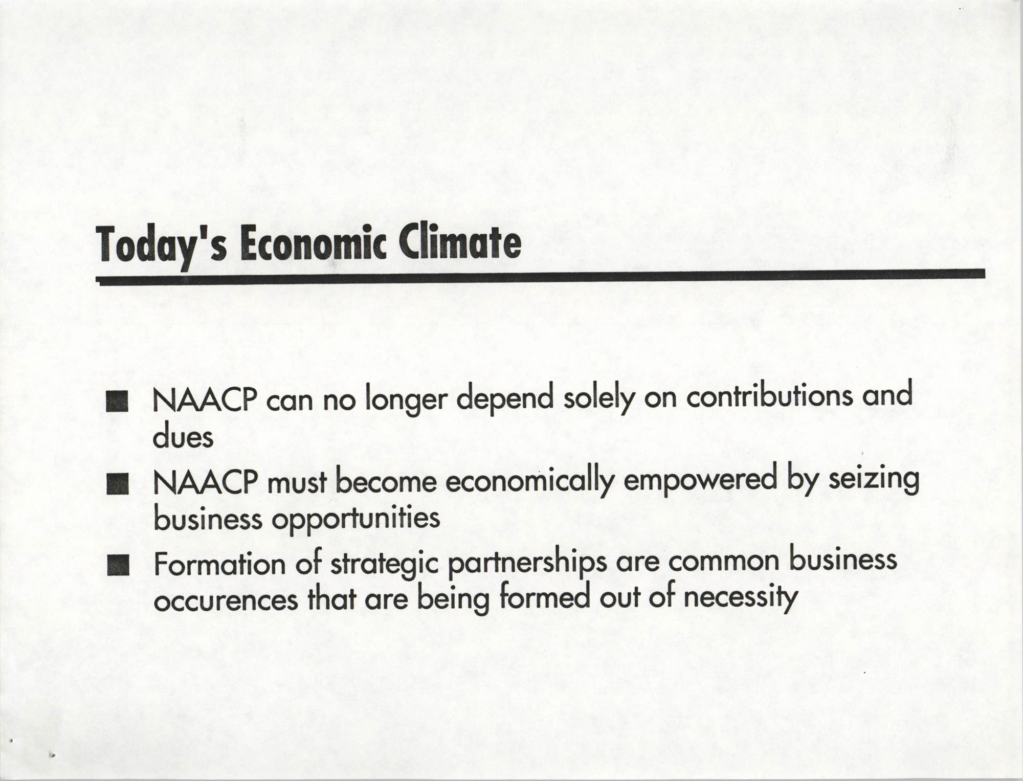 Economic Empowerment Plan, Page 1