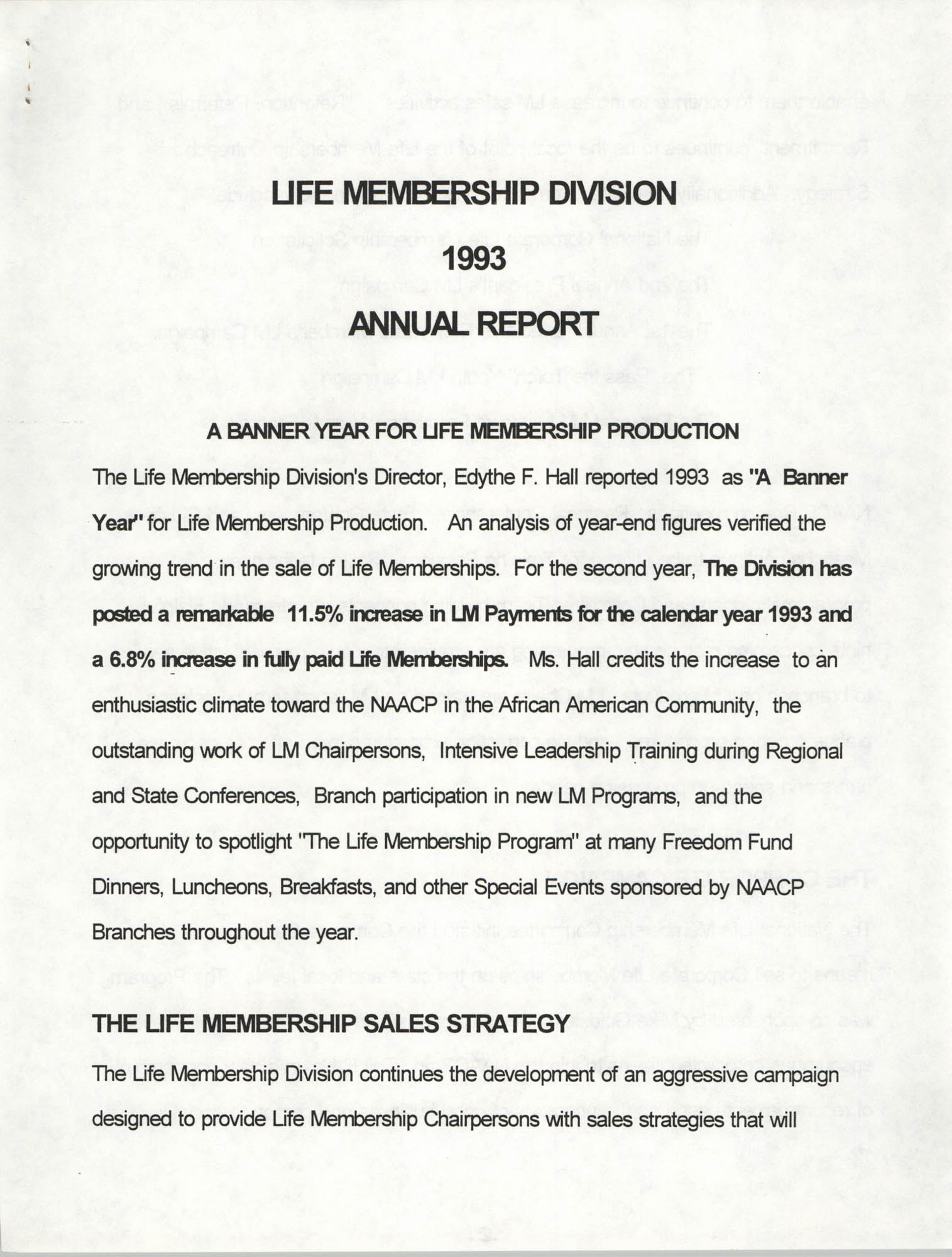 Life Membership Division, 1993 Annual Report, Page 1