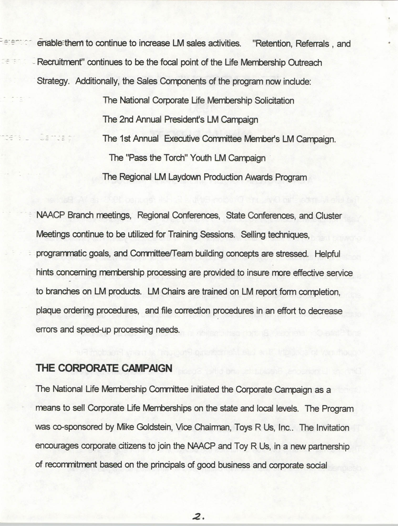Life Membership Division, 1993 Annual Report, Page 2