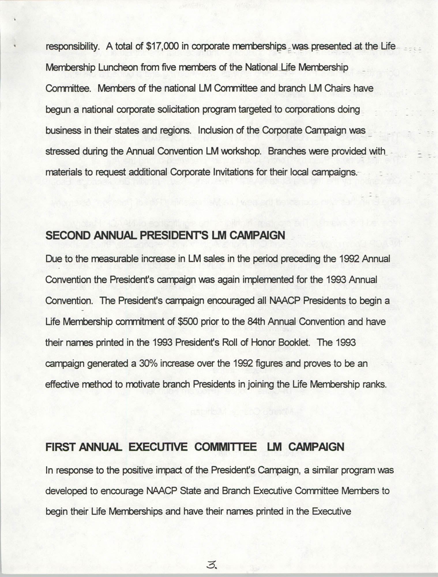 Life Membership Division, 1993 Annual Report, Page 3