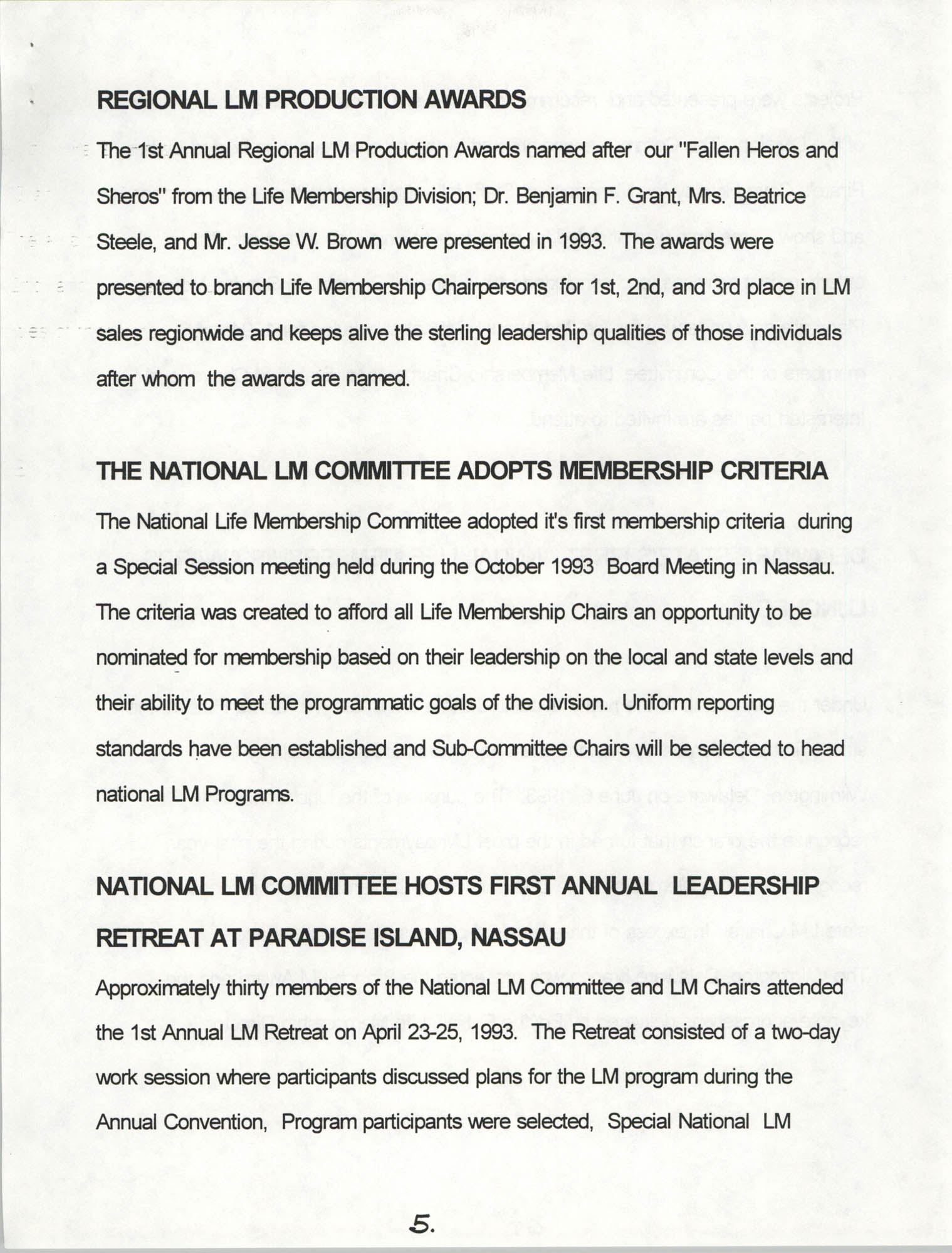 Life Membership Division, 1993 Annual Report, Page 5