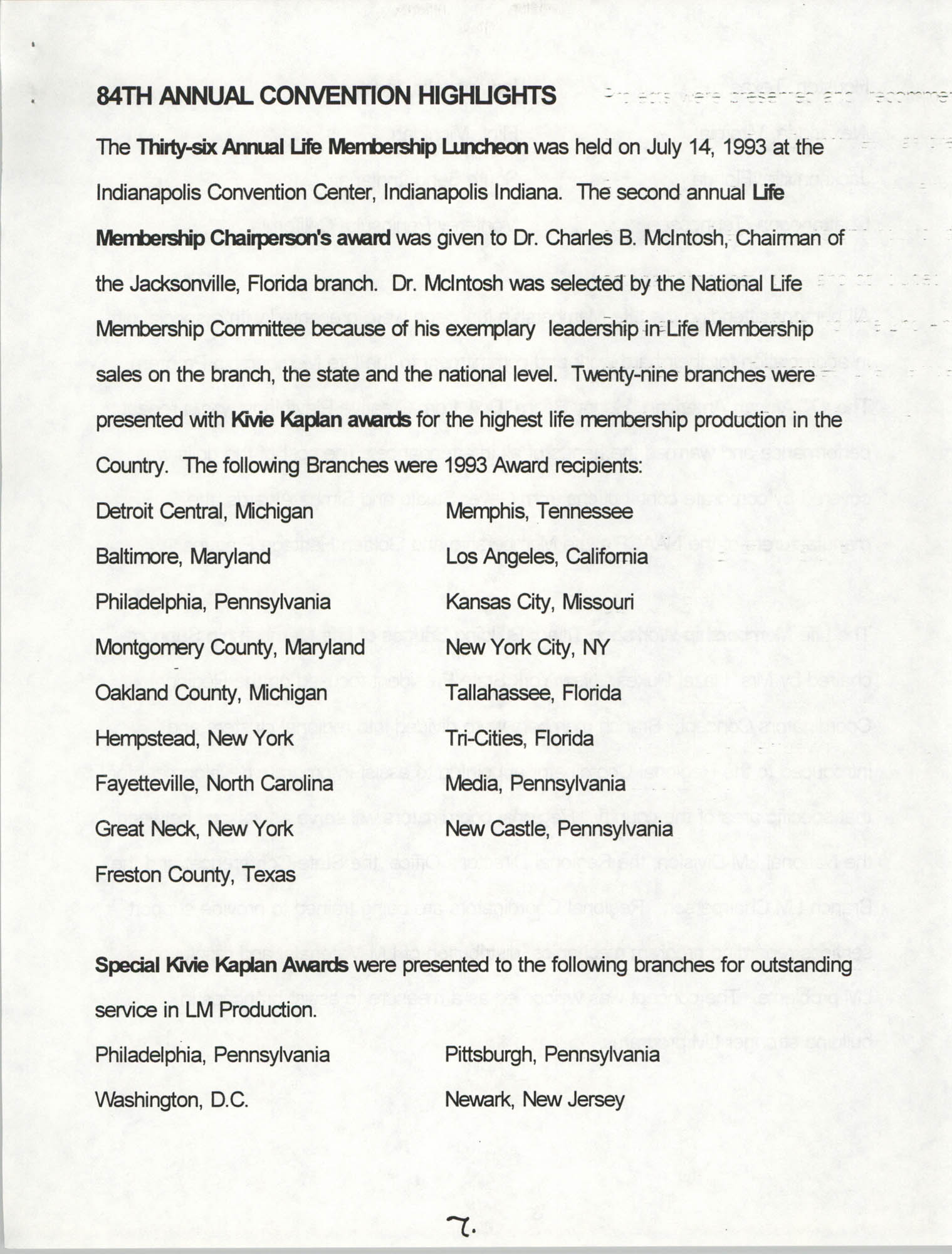 Life Membership Division, 1993 Annual Report, Page 7