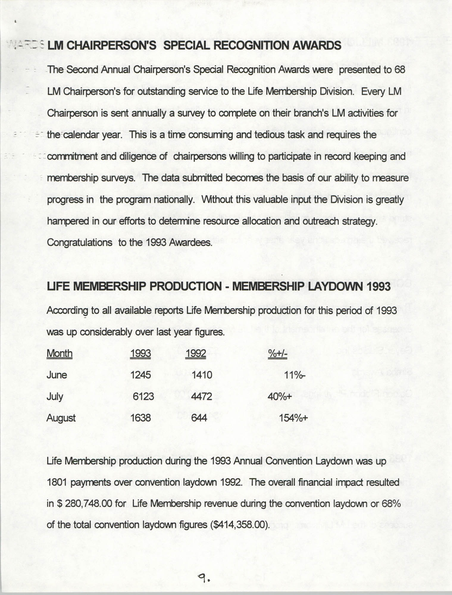 Life Membership Division, 1993 Annual Report, Page 9