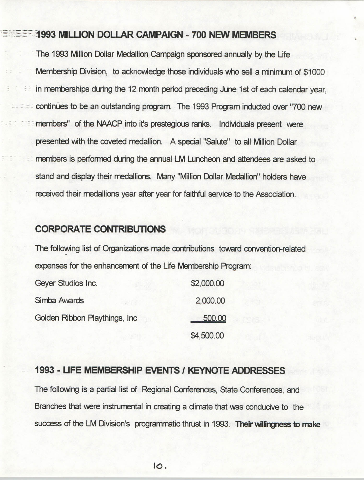 Life Membership Division, 1993 Annual Report, Page 10
