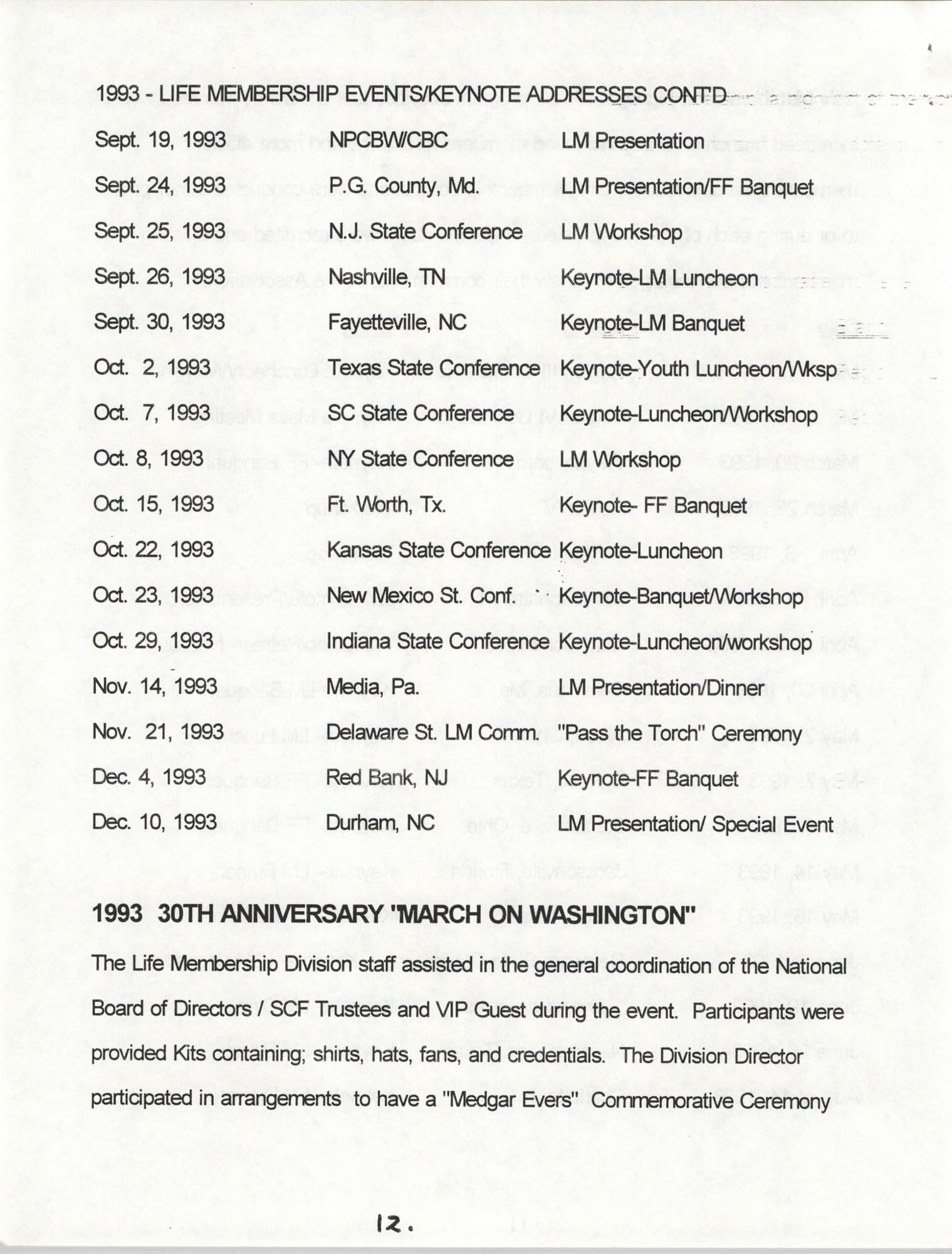 Life Membership Division, 1993 Annual Report, Page 12