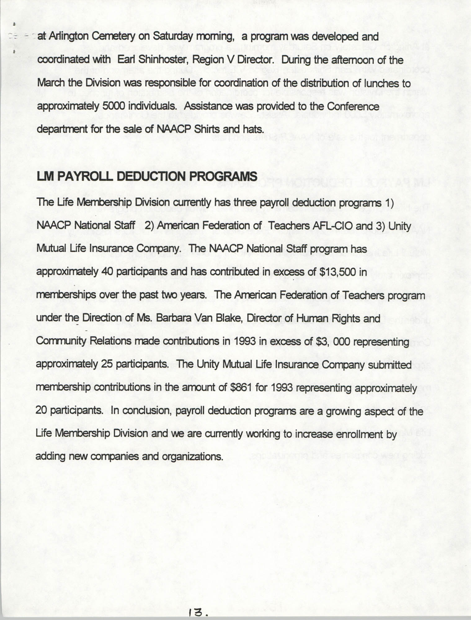 Life Membership Division, 1993 Annual Report, Page 13