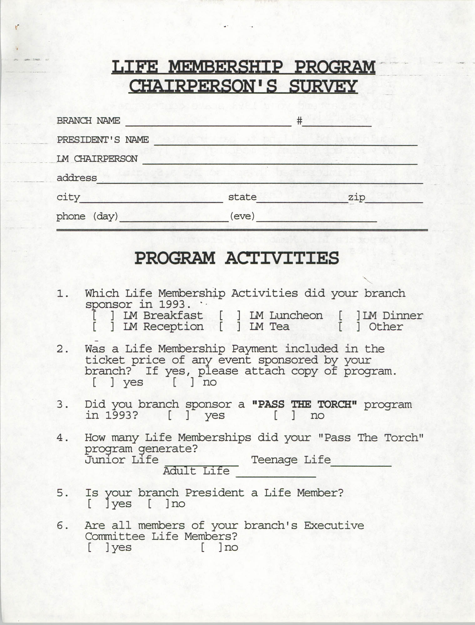 Life Membership Program, Chairperson's Survey, Page 2