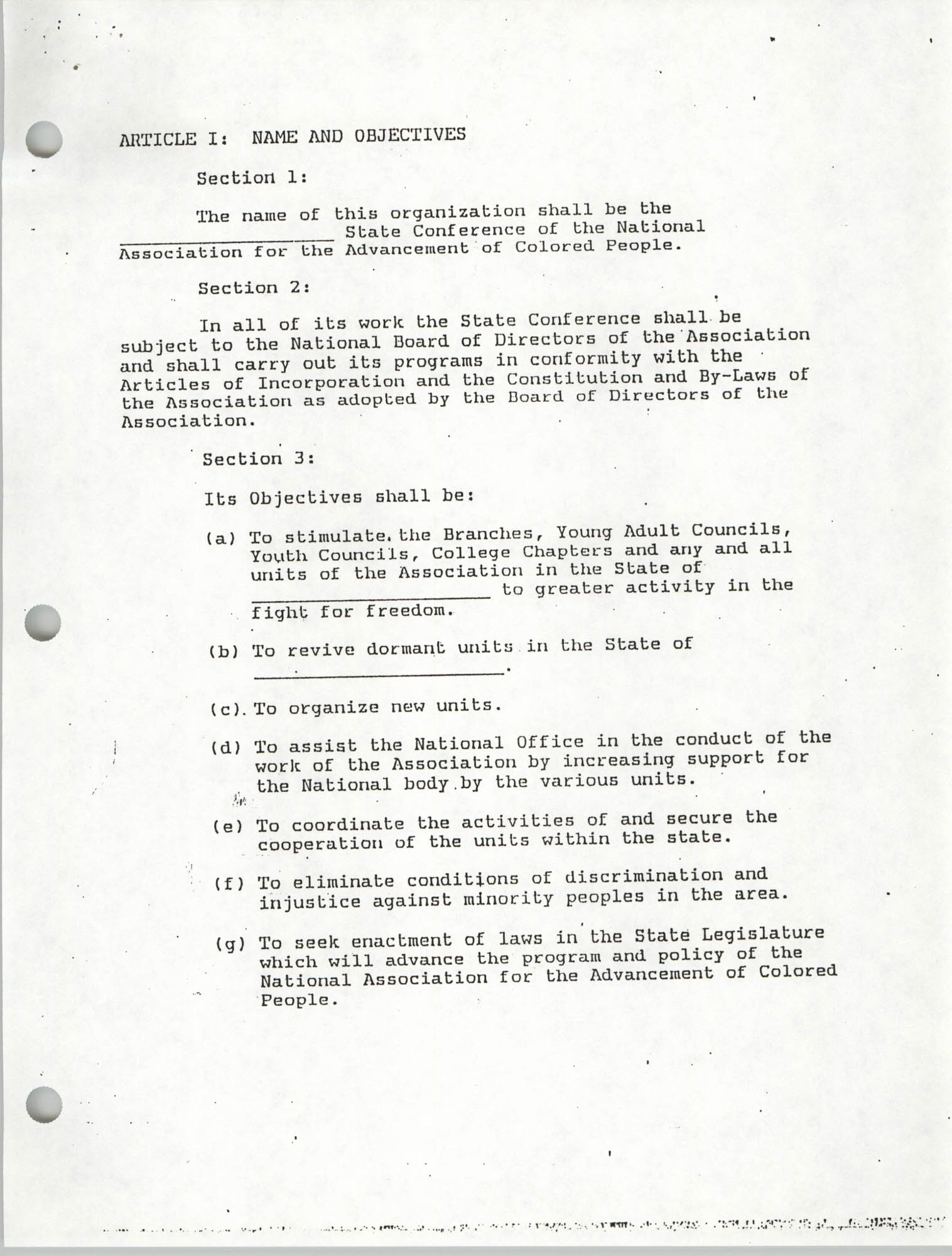 Constitution for State Conferences of the NAAC, Page 1