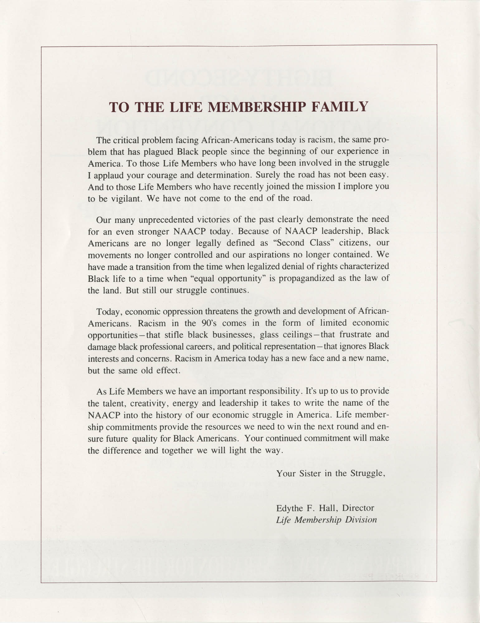 Eighty-Second NAACP National Convention, July 10, 1991, Page 1