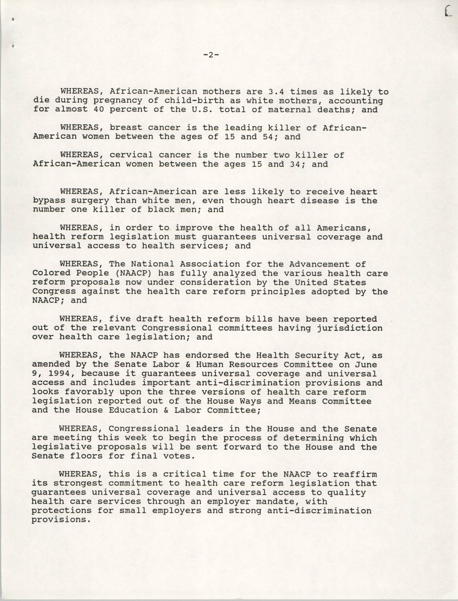 Emergency Resolution, 85th Annual Convention of the NAACP, Health Care Reform, Page 2