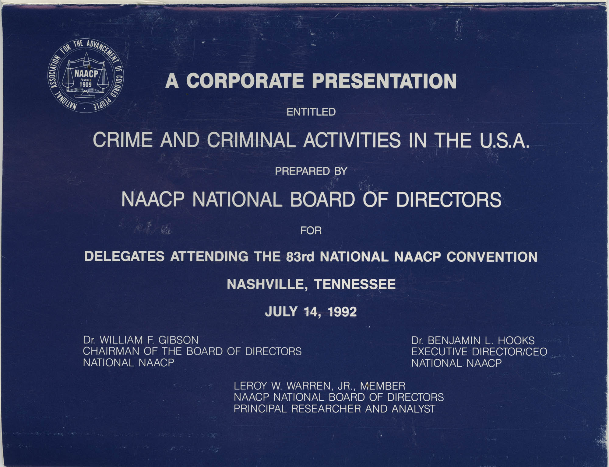 Crime and Criminal Activities in the U.S.A., NAACP National Board of Directors, Front Cover