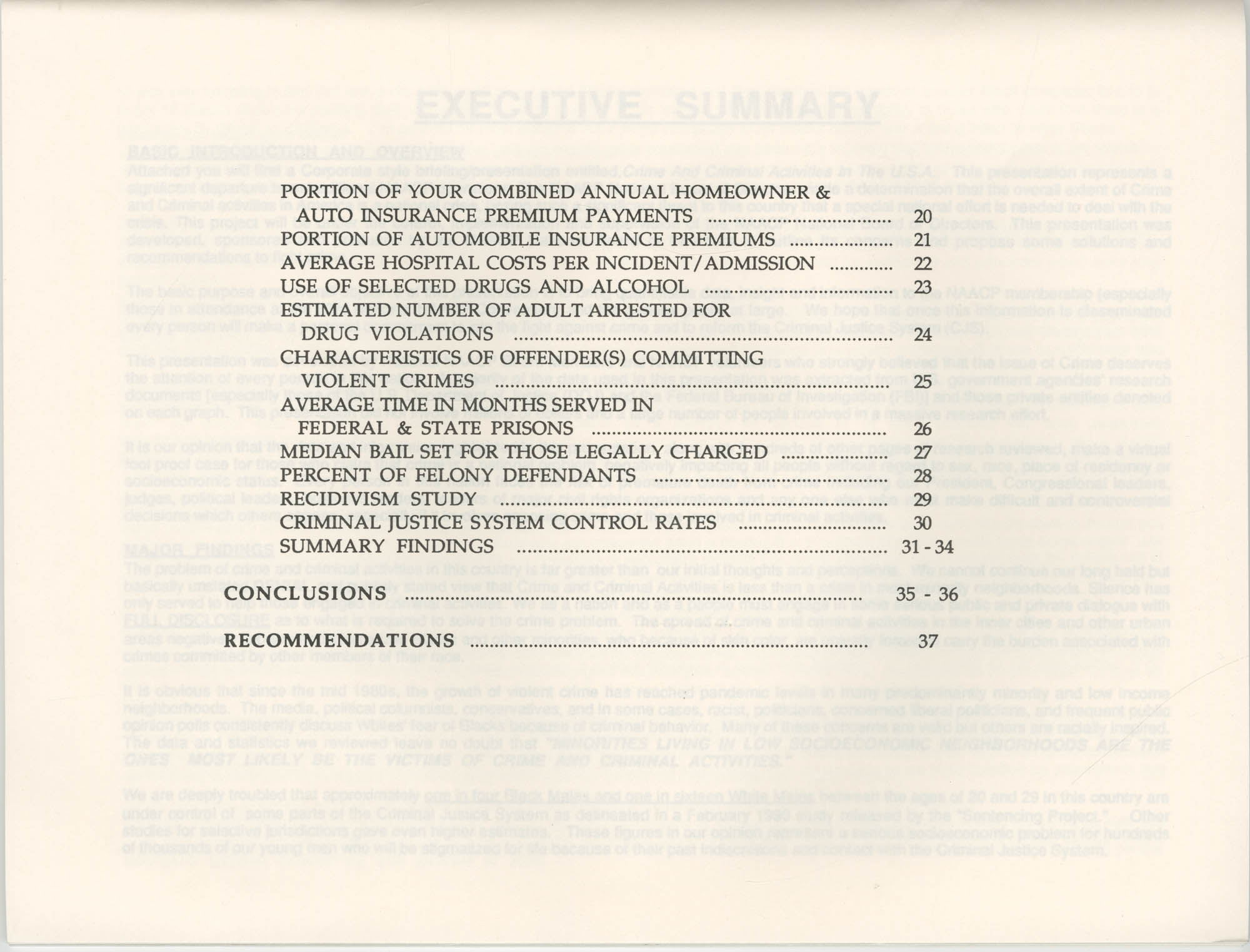 Crime and Criminal Activities in the U.S.A., NAACP National Board of Directors, Table of Contents, Page 2
